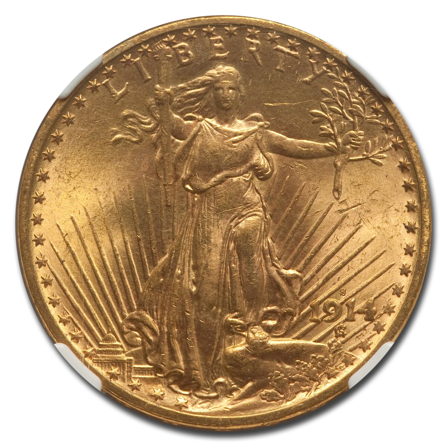 1914-S $20 St. Gaudens Gold Double Eagle MS-64 NGC
