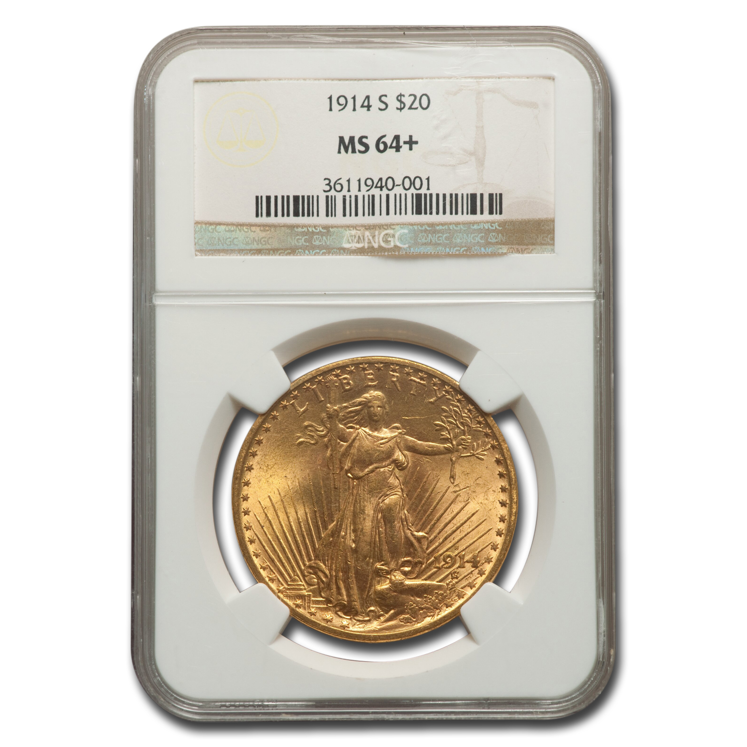 1914-S $20 St. Gaudens Gold Double Eagle - MS-64 NGC