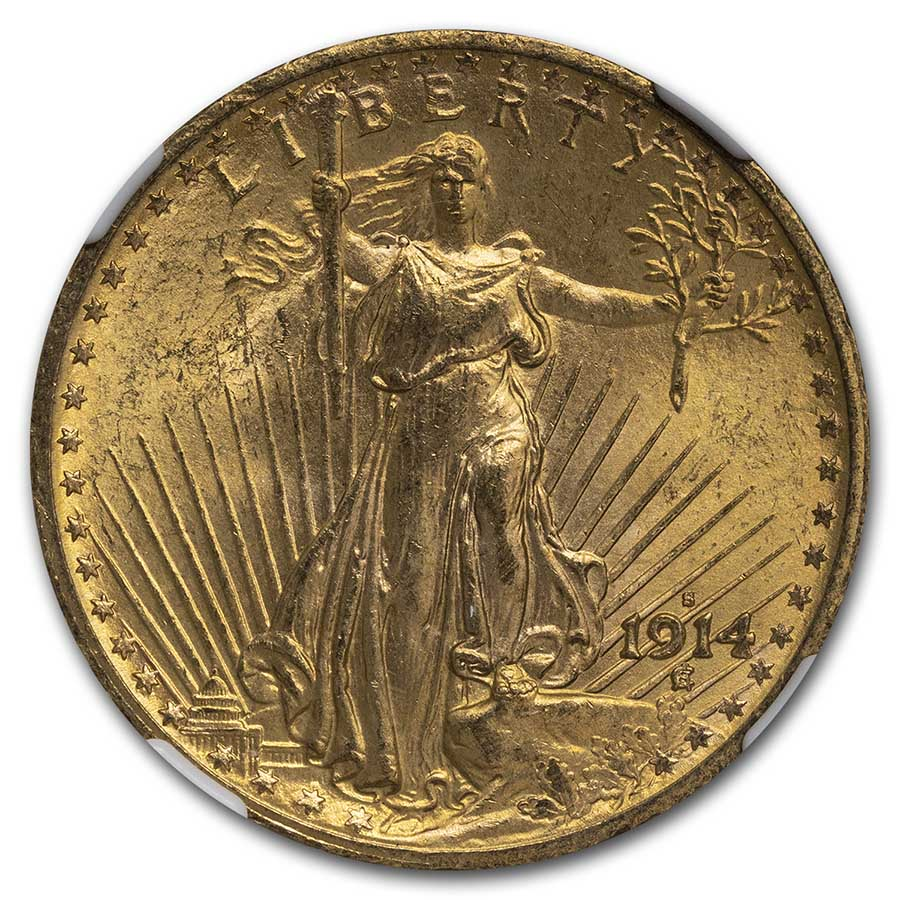 1914-S $20 St. Gaudens Gold Double Eagle MS-63 NGC
