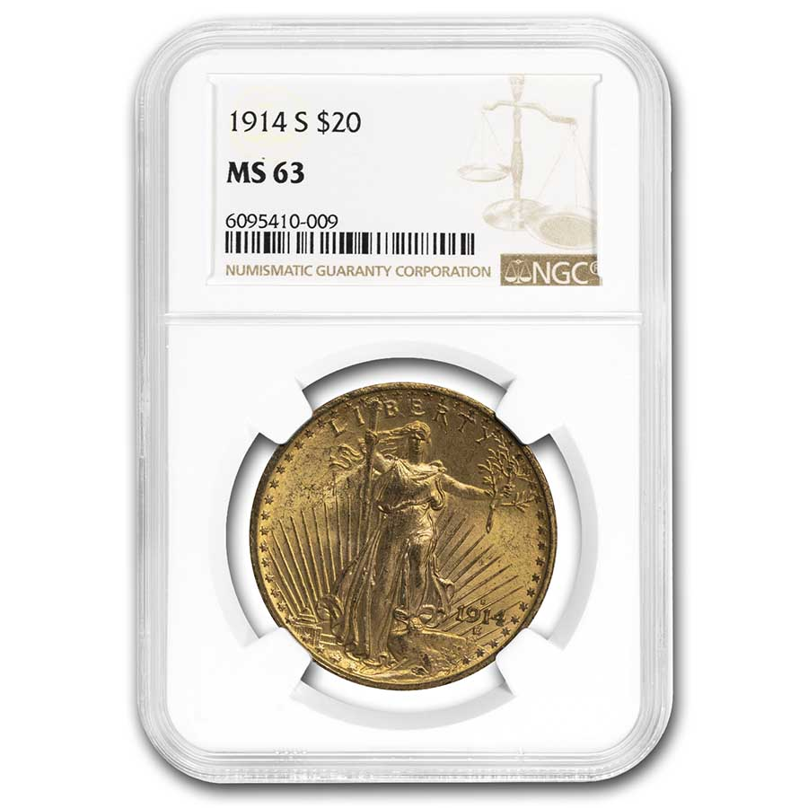 1914-S $20 St. Gaudens Gold Double Eagle - MS-63 NGC