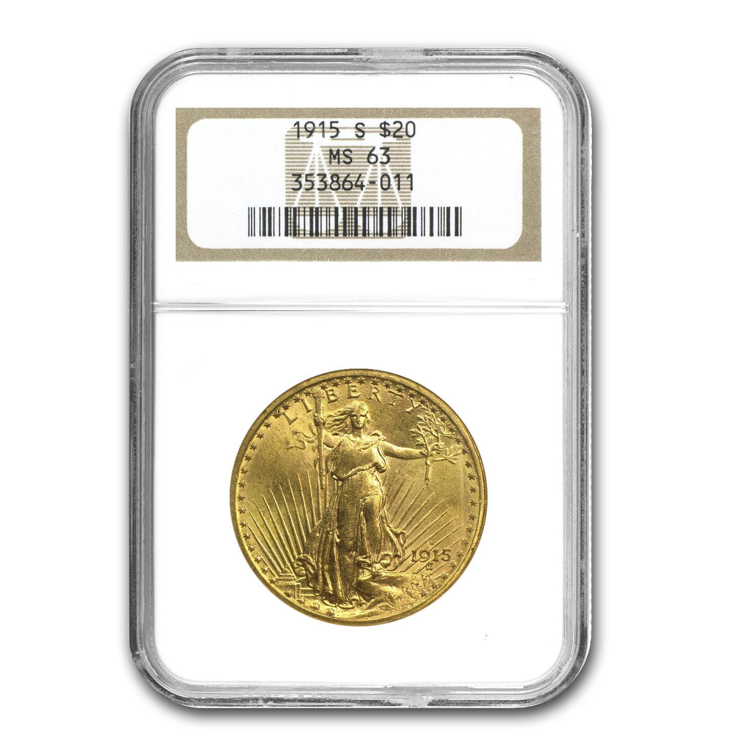 1915-S $20 St. Gaudens Gold Double Eagle MS-63 NGC