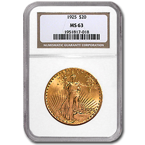 1925 $20 St. Gaudens Gold Double Eagle MS-63 NGC