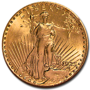 1925 $20 St. Gaudens Gold Double Eagle - MS-63 NGC