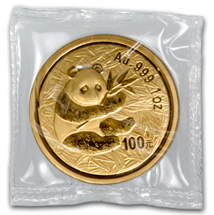 2000 China 1 oz Gold Panda Frosted Ring BU (Sealed)