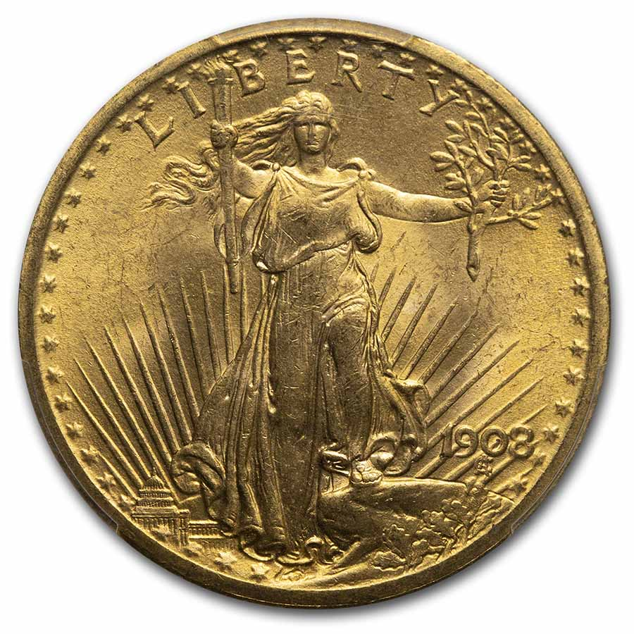 1908 $20 Saint-Gaudens Gold Double Eagle No Motto MS-65 PCGS