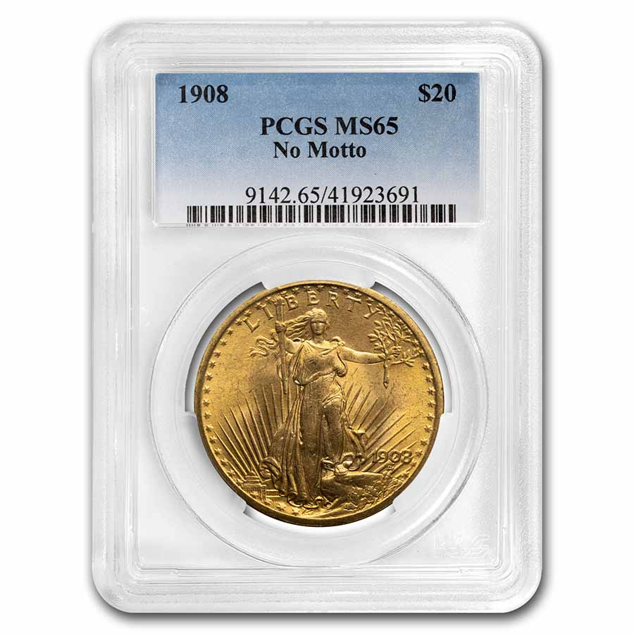 1908 $20 St. Gaudens Gold Double Eagle - No Motto - MS-65 PCGS