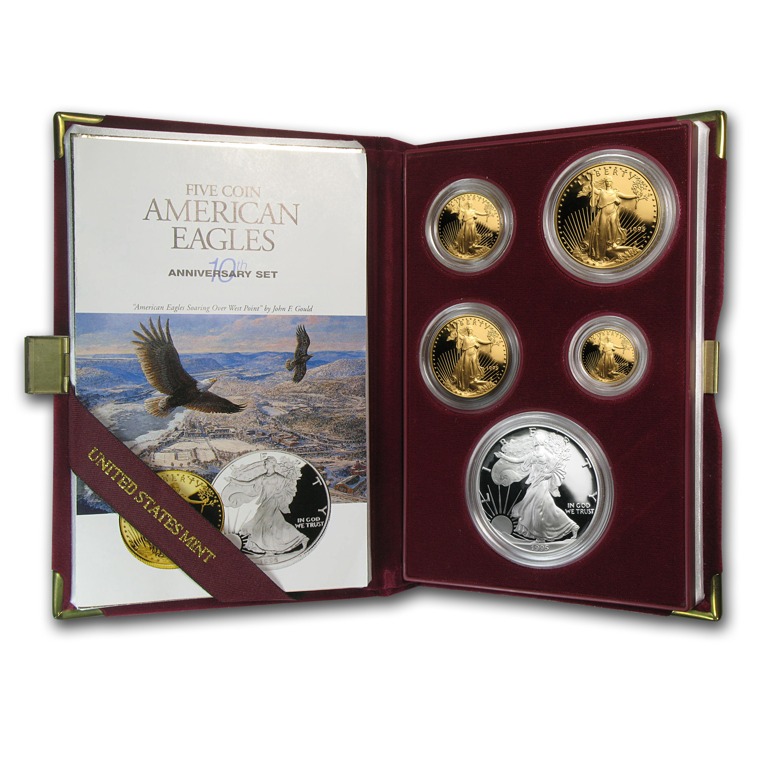 1995-W 5-Coin Proof American Eagle Set (10 Anniv, Box & COA)