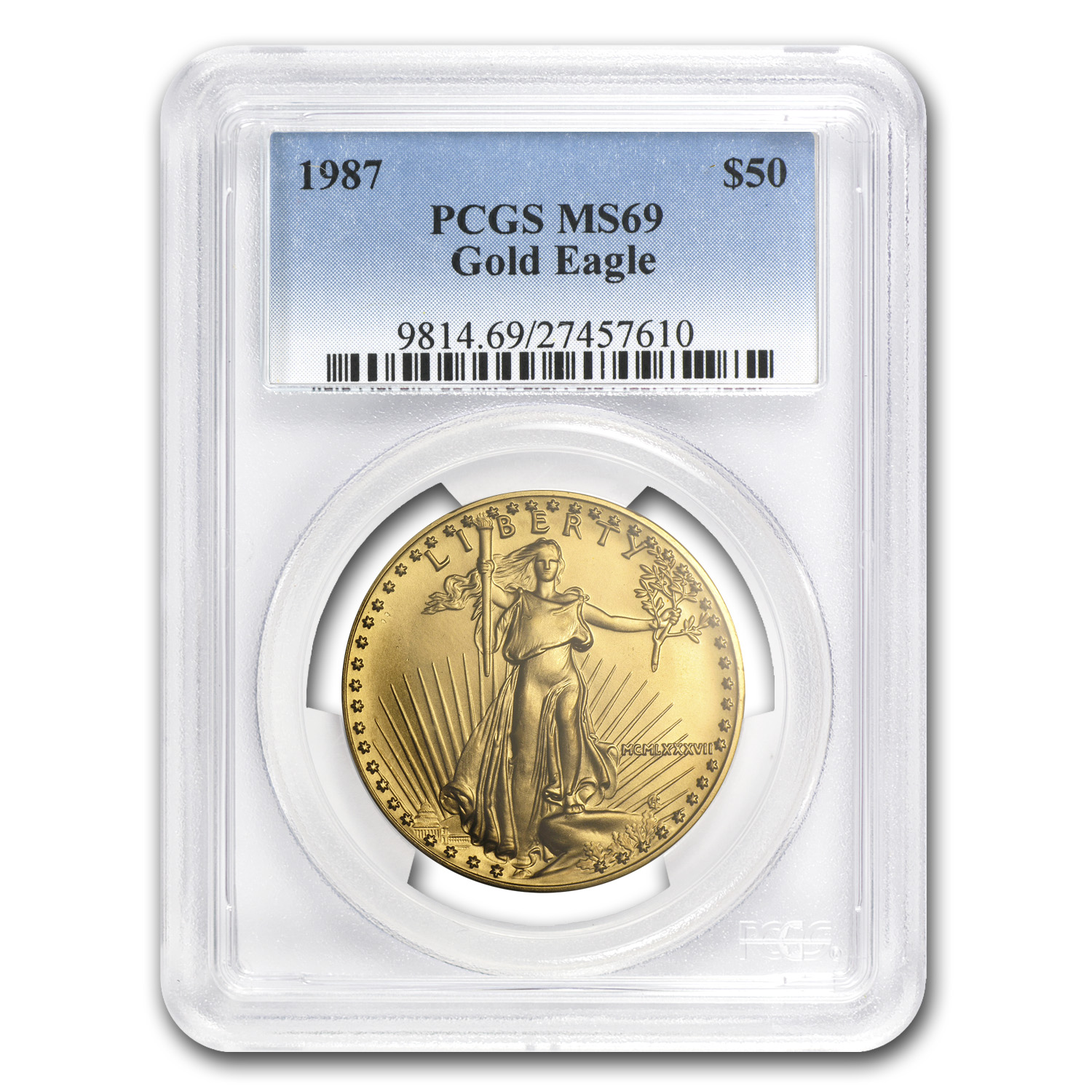 1987 1 oz Gold American Eagle MS-69 PCGS