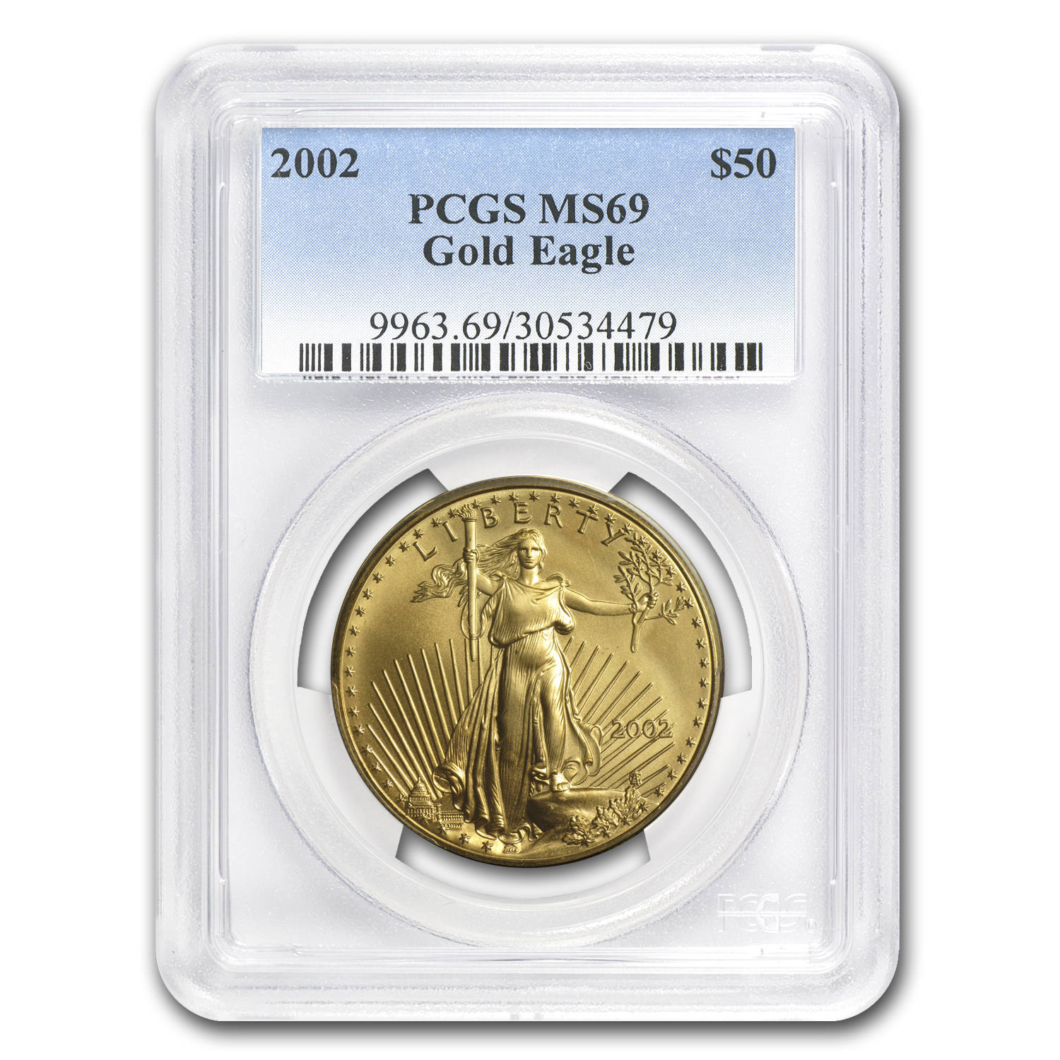 2002 1 oz Gold American Eagle MS-69 PCGS