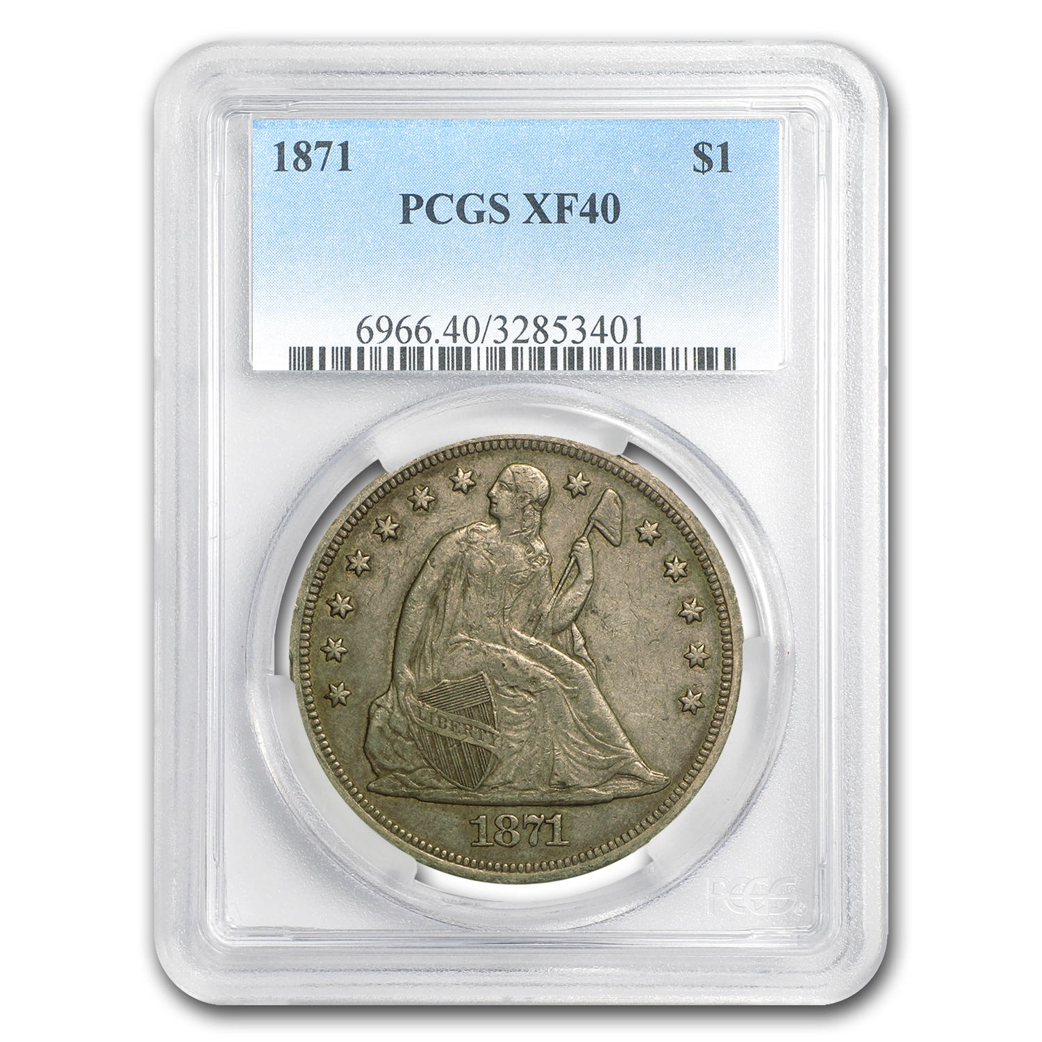 1871 Liberty Seated Dollar XF-40 PCGS