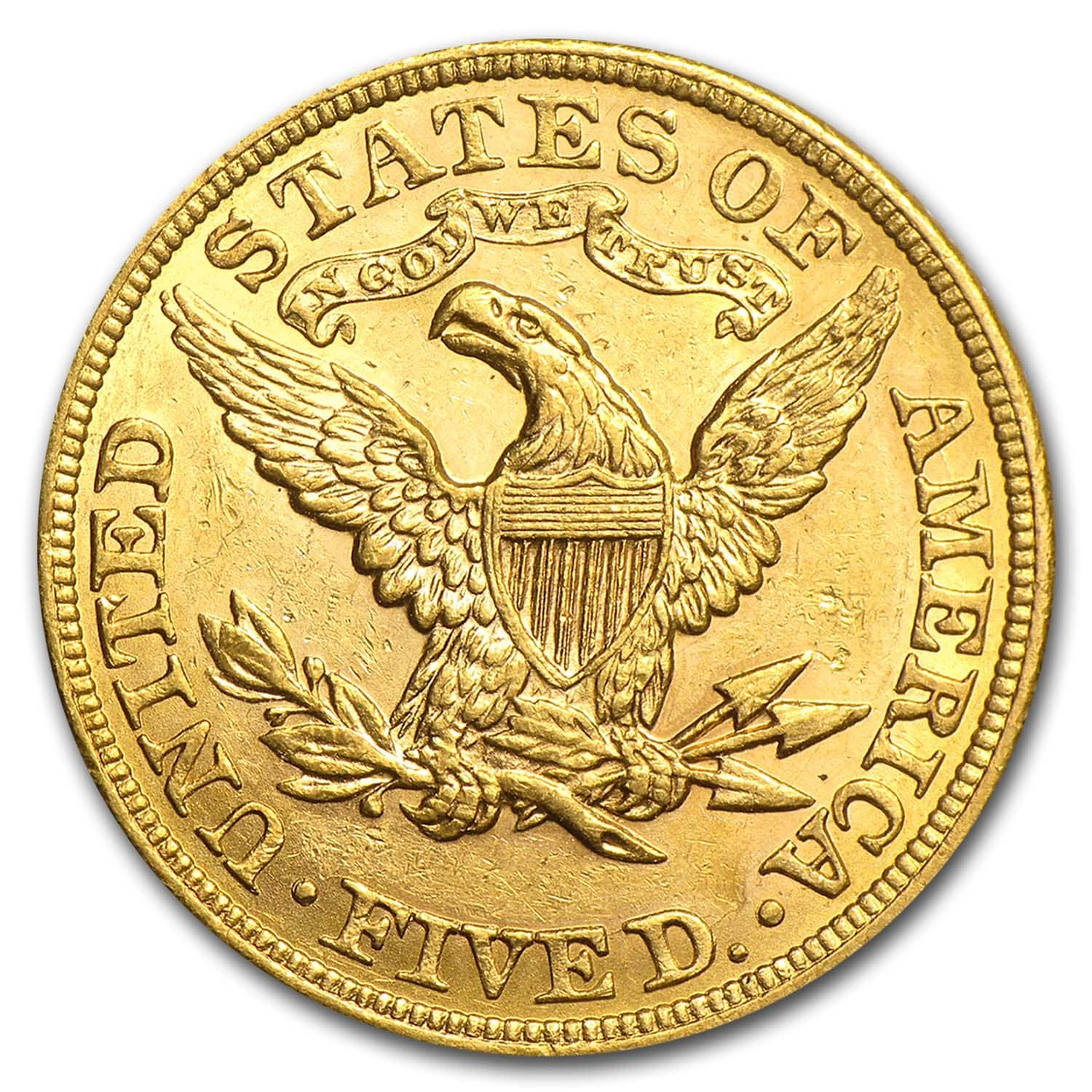 $5 Liberty Gold Half Eagle Almost Uncirculated