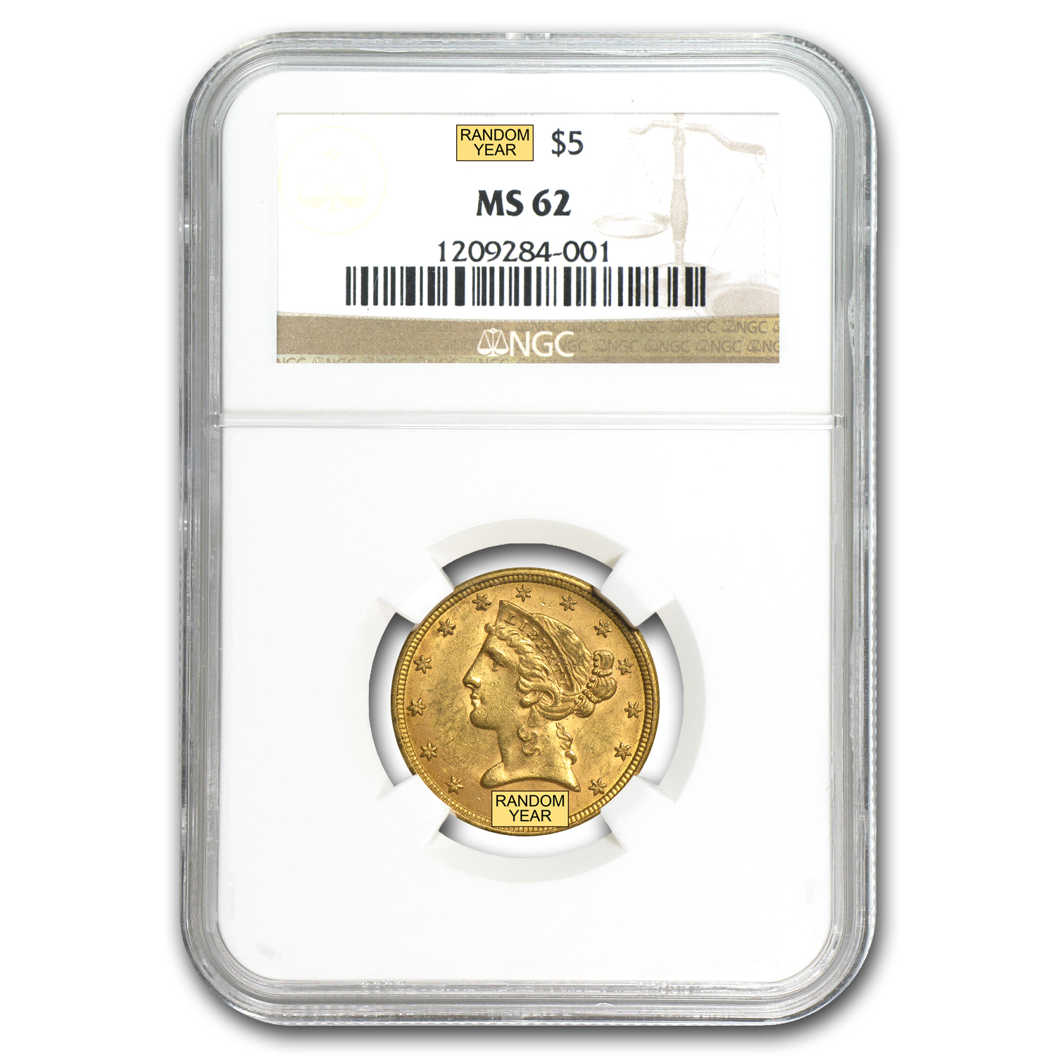 $5 Liberty Gold Half Eagle - MS-62 NGC