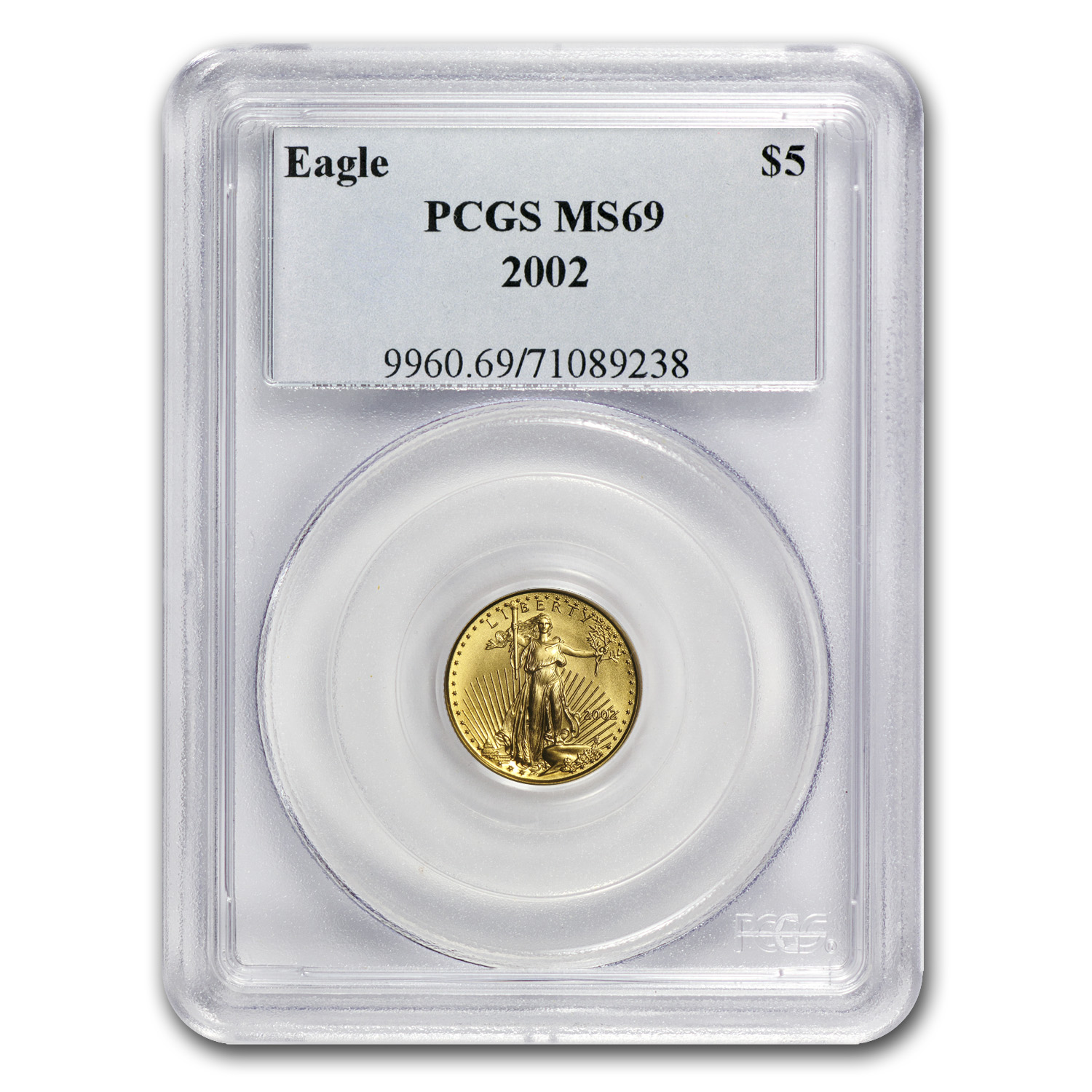 2002 1/10 oz Gold American Eagle MS-69 PCGS