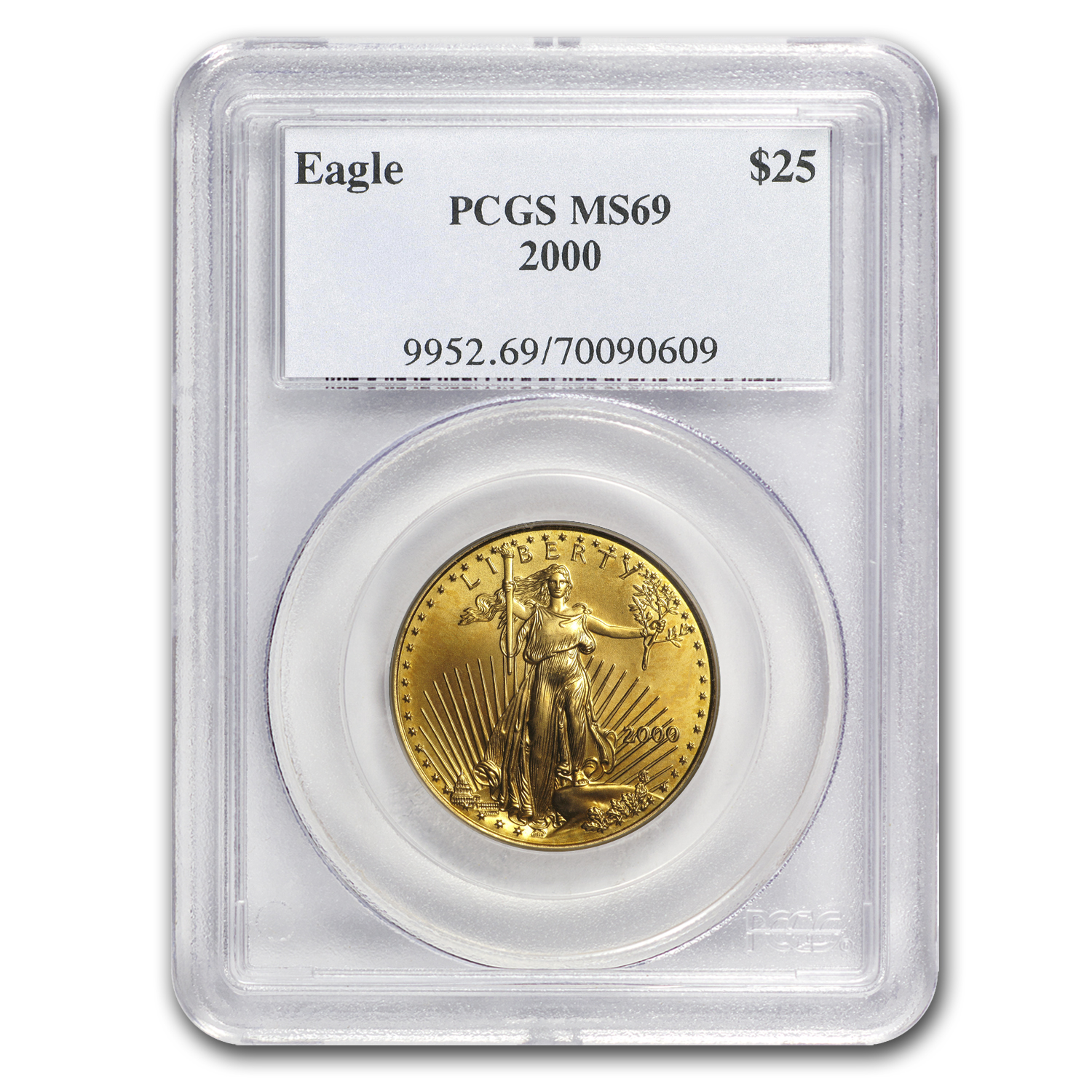 2000 1/2 oz Gold American Eagle MS-69 PCGS