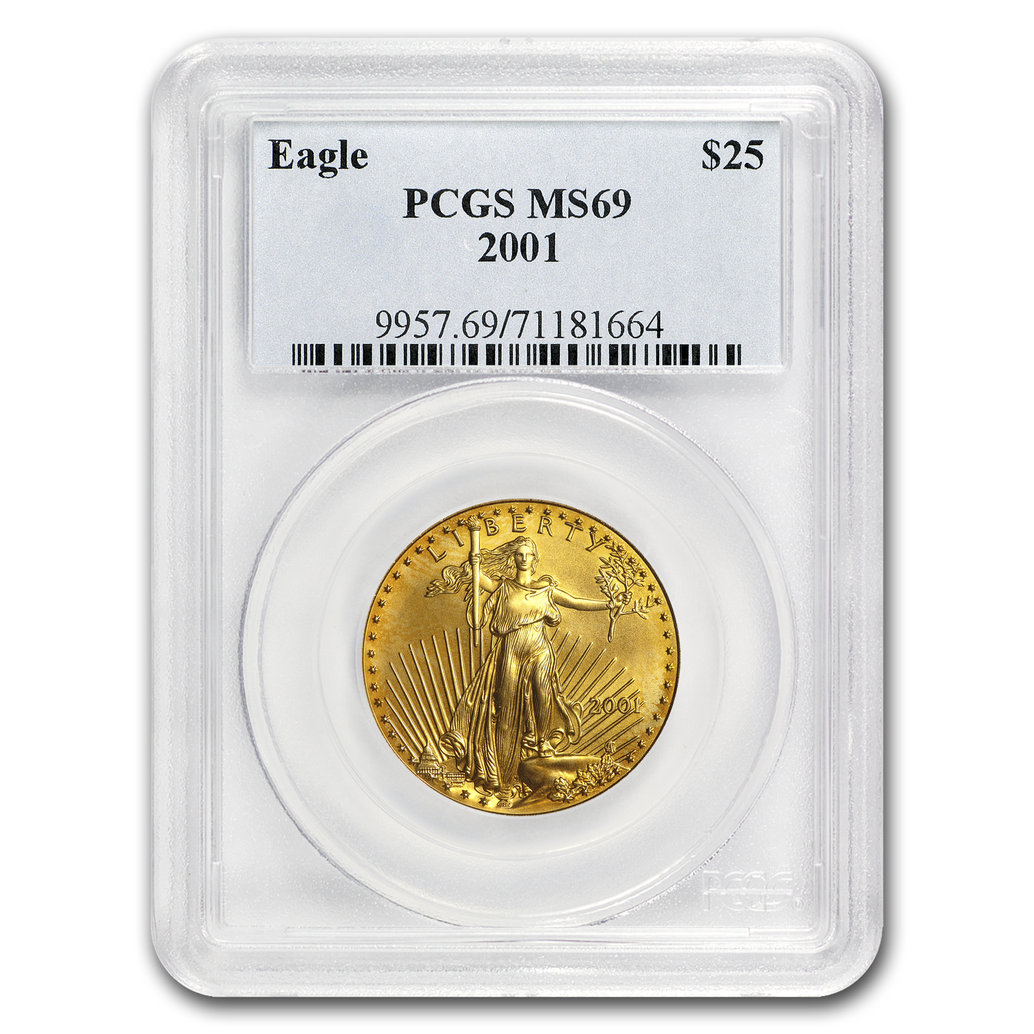 2001 1/2 oz Gold American Eagle MS-69 PCGS