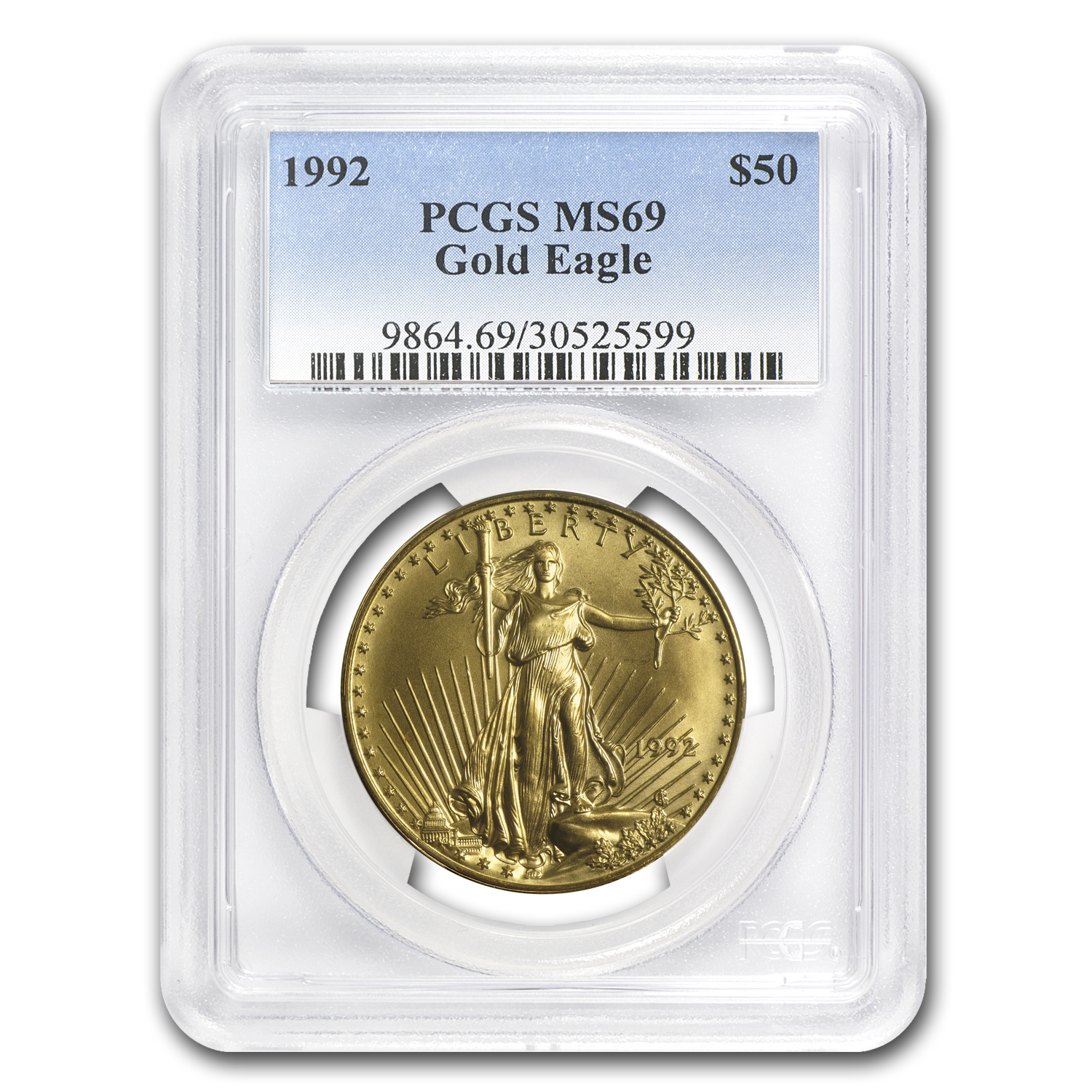1992 1 oz Gold American Eagle MS-69 PCGS