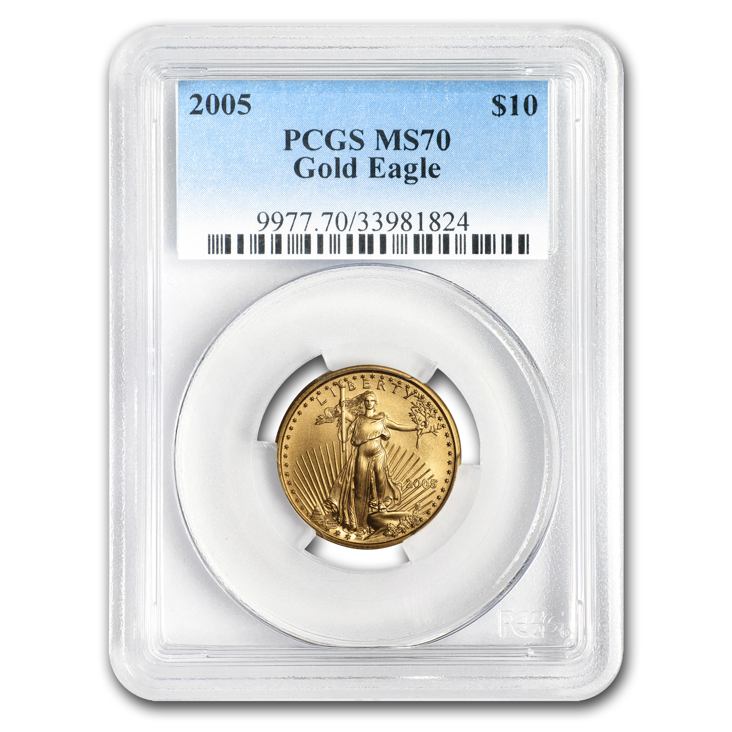 2005 1/4 oz Gold American Eagle MS-70 PCGS (20th Anniv)