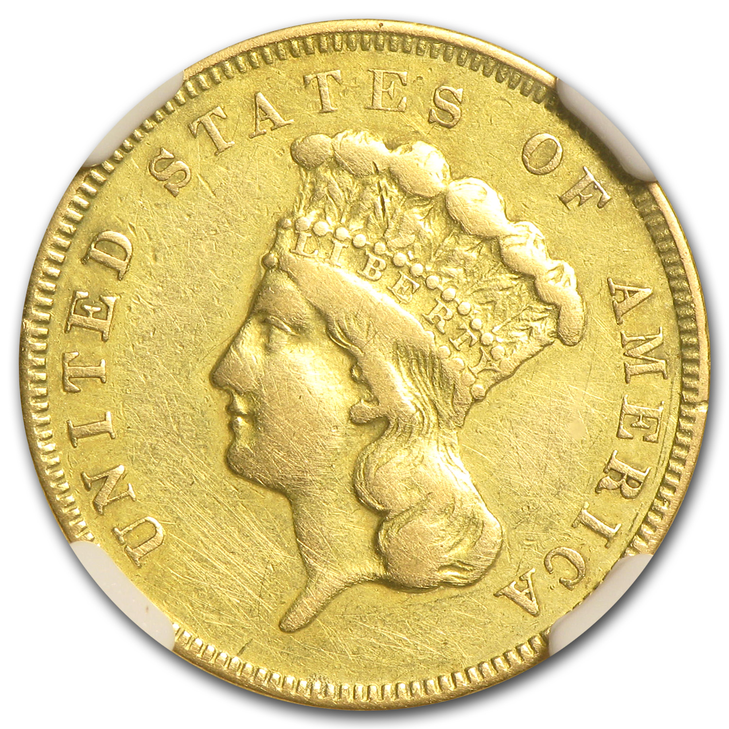 1855 $3 Gold Princess - Extra Fine Details - NGC - (Cleaned)
