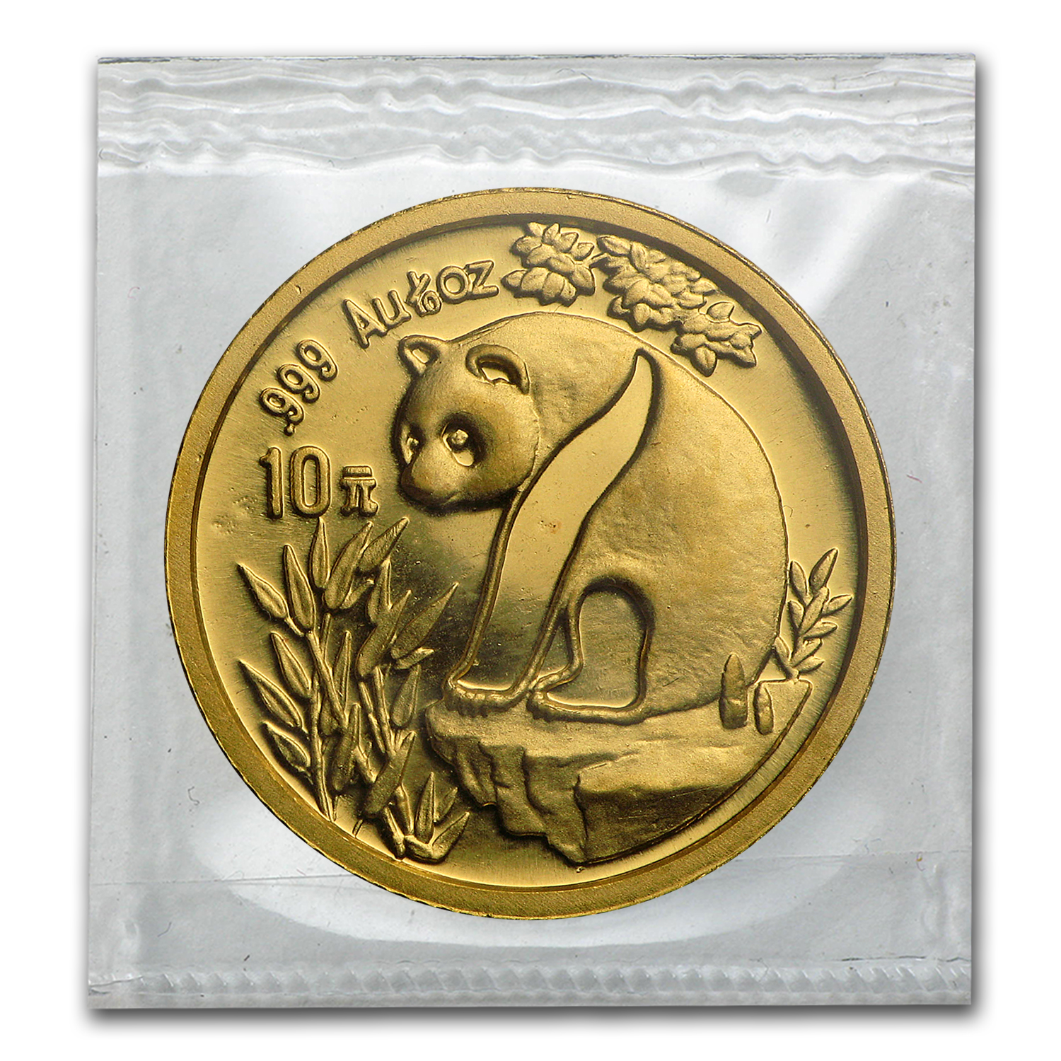 1993 China 1/10 oz Gold Panda Large Date BU (Sealed)
