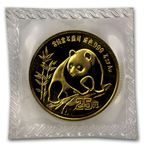 1990 China 1/4 oz Gold Panda Large Date BU (Sealed)