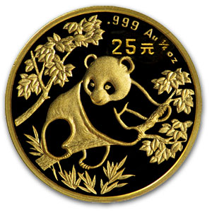 1992 1/4 oz Gold Chinese Panda Small Date BU (Sealed)