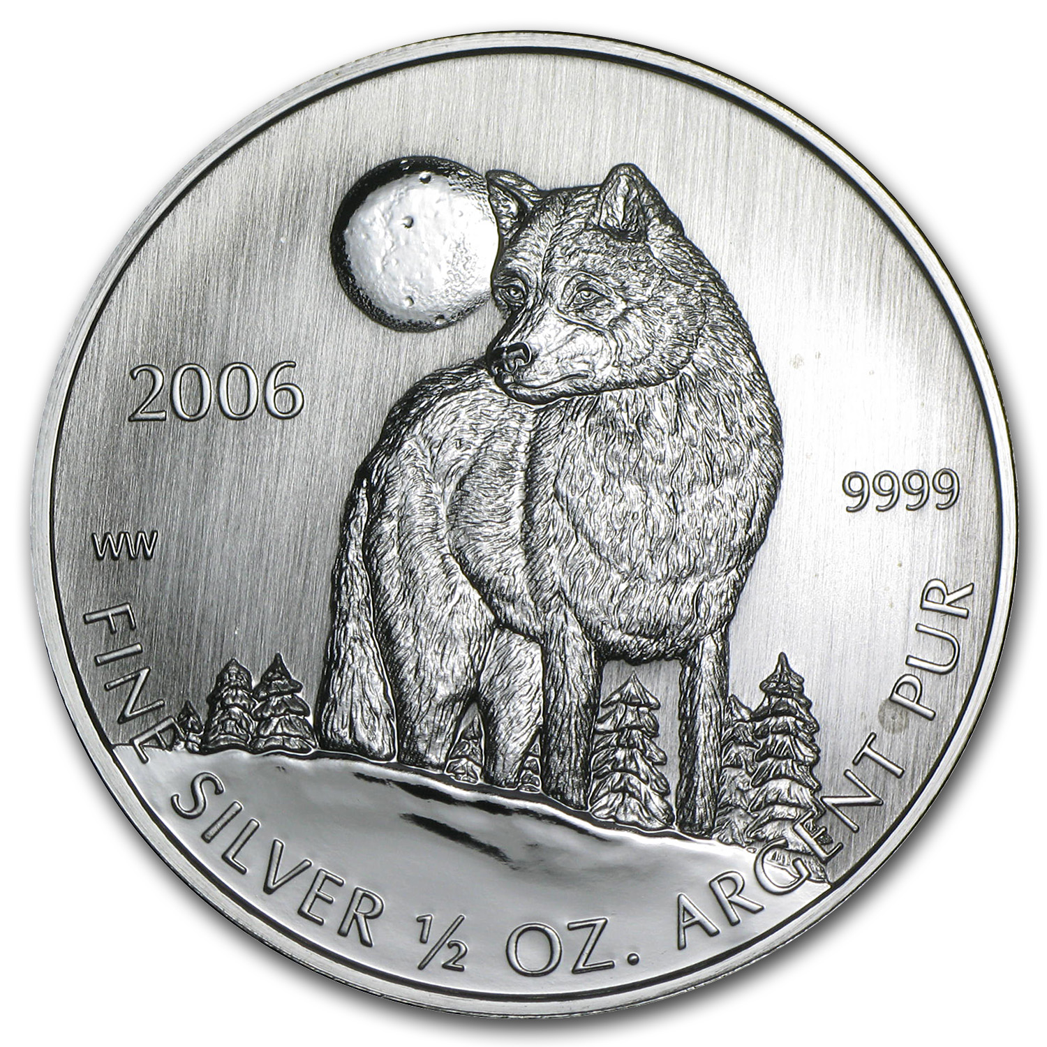 2006 1/2 oz Silver Canadian Timber Wolf Coin (Sealed)