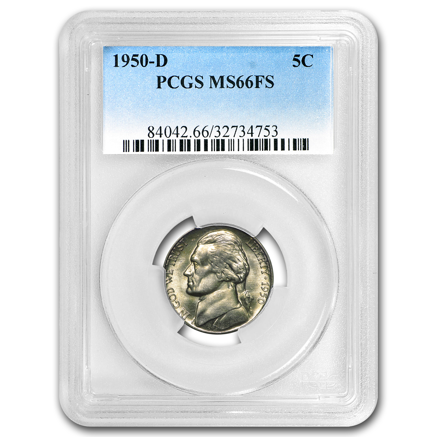 1950-D Jefferson Nickel MS-66 PCGS (Full Steps)