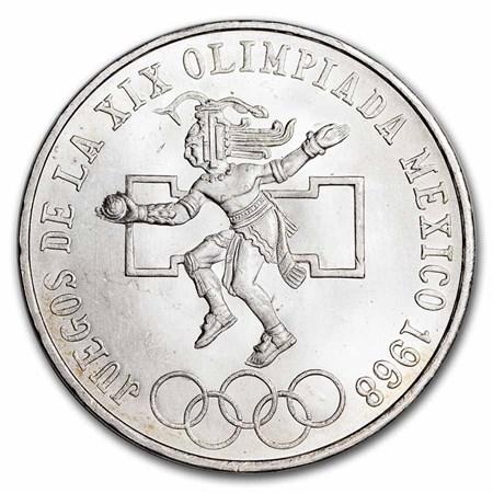 1968 Mexico Silver 25 Pesos Olympics Au Bu Asw 5209