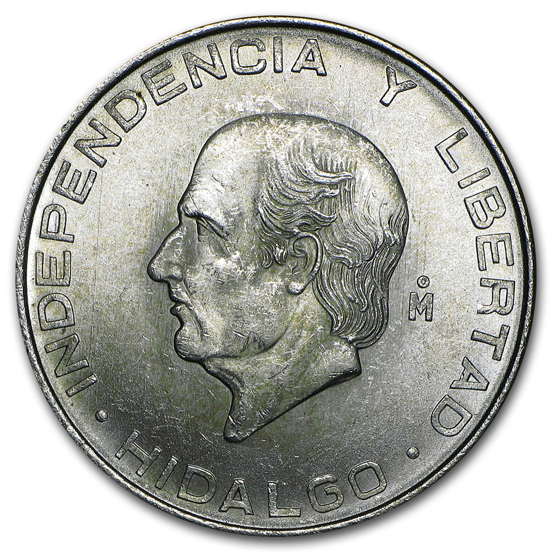 1955 1957 Mexico Silver 5 Pesos Hidalgo Xf Au Asw 4179