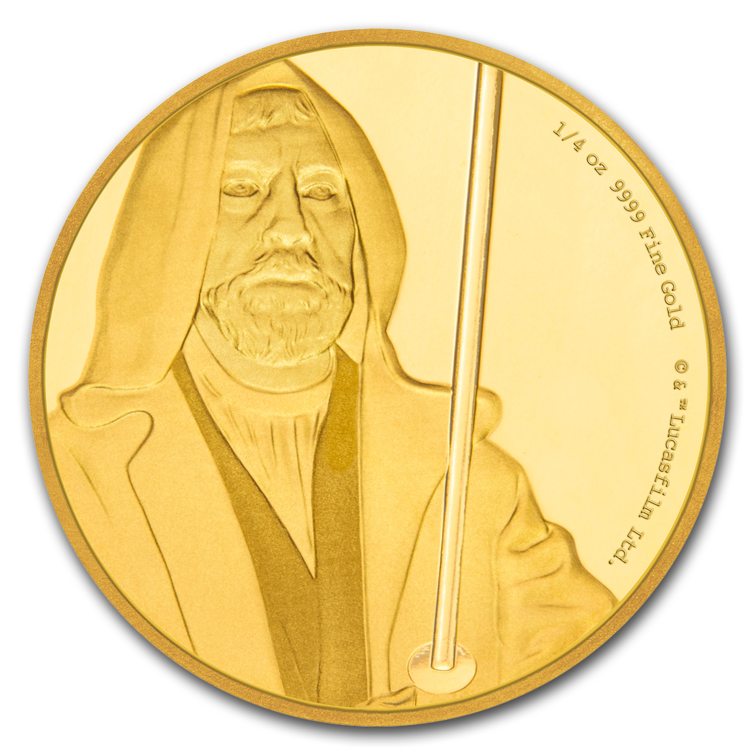 2017 Niue 1/4 oz Gold $25 Star Wars Obi-Wan Kenobi Pf (Box & COA)
