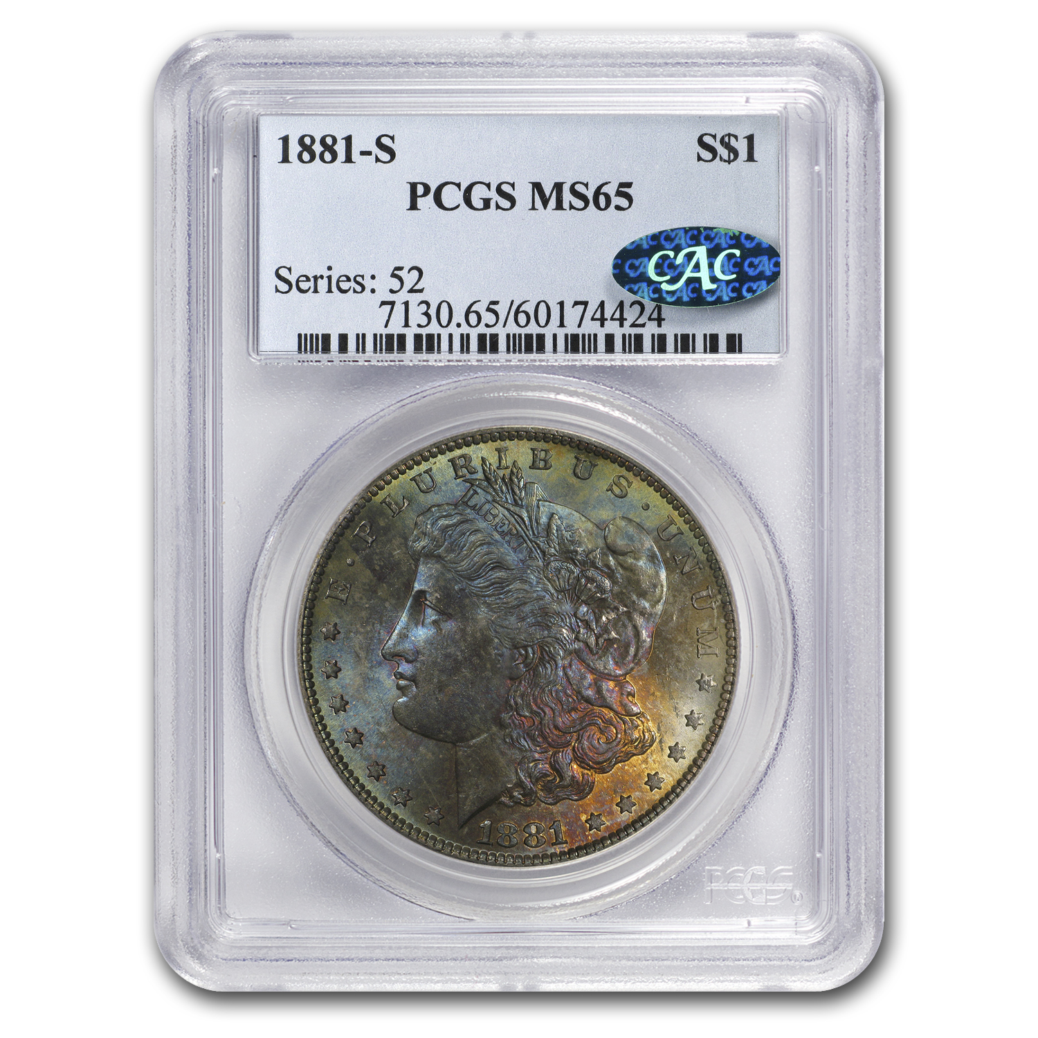 1881-S Morgan Dollar MS-65 PCGS (CAC, Awesome Obv Toning)