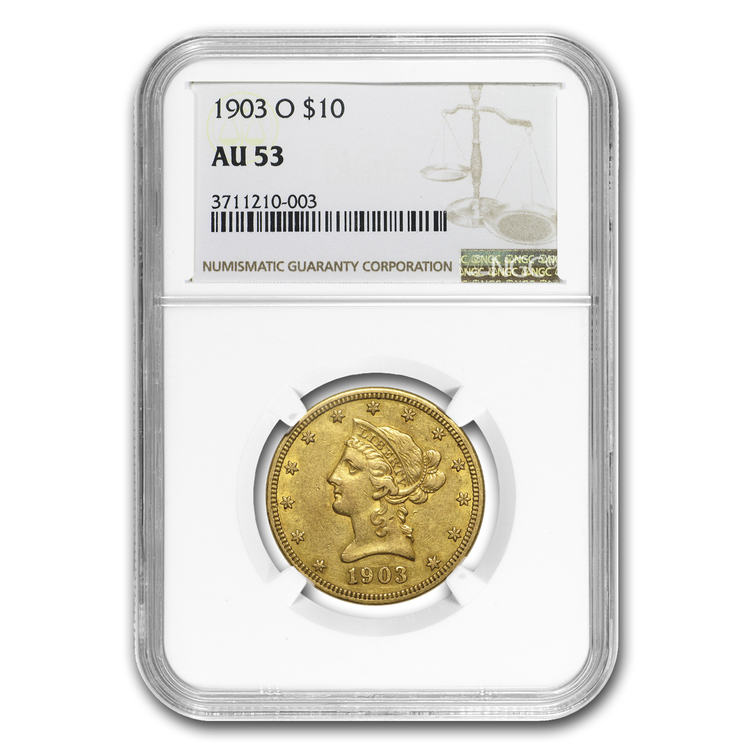 1903-O $10 Liberty Gold Eagle AU-53 NGC