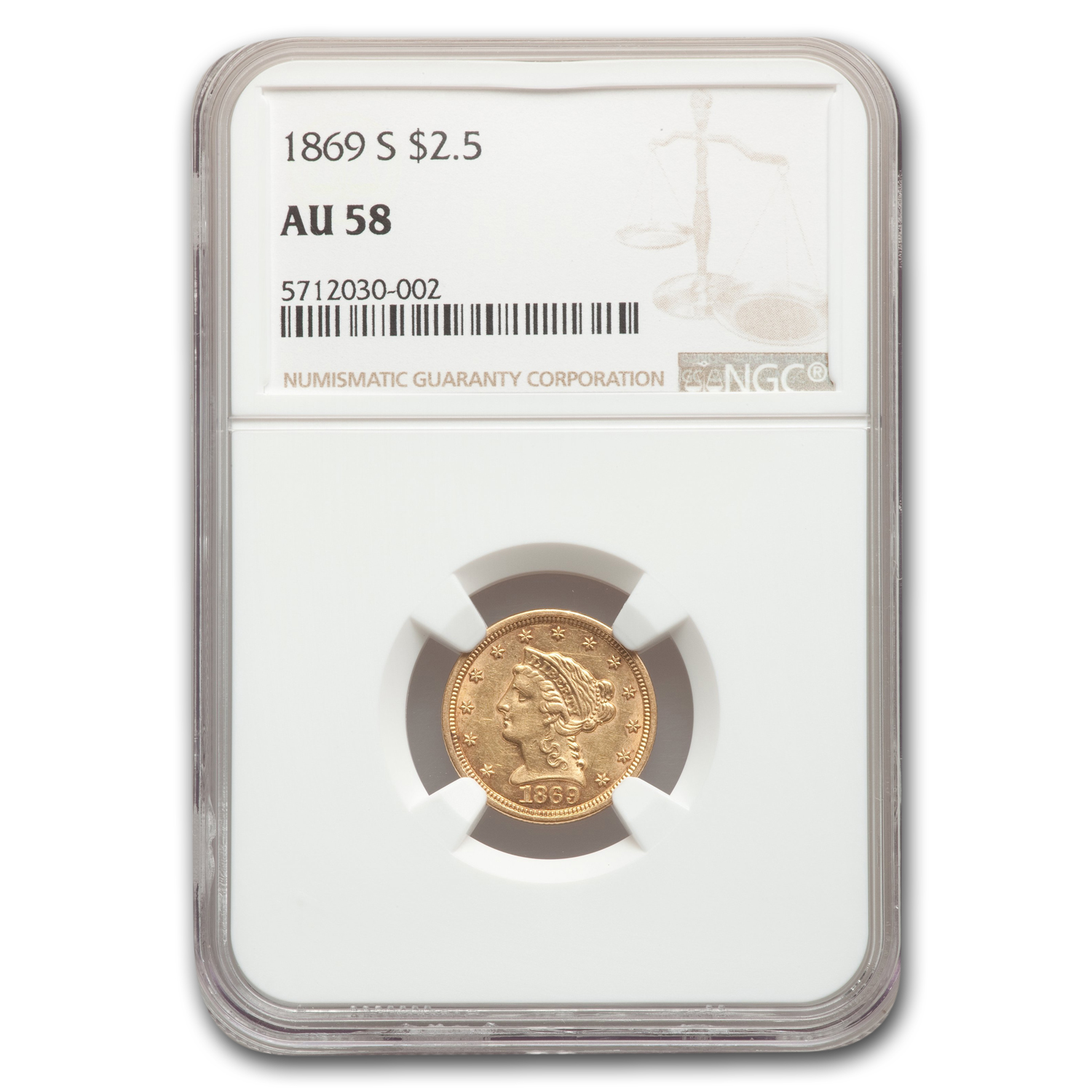 1869-S $2.50 Liberty Gold Quarter Eagle AU-58 NGC