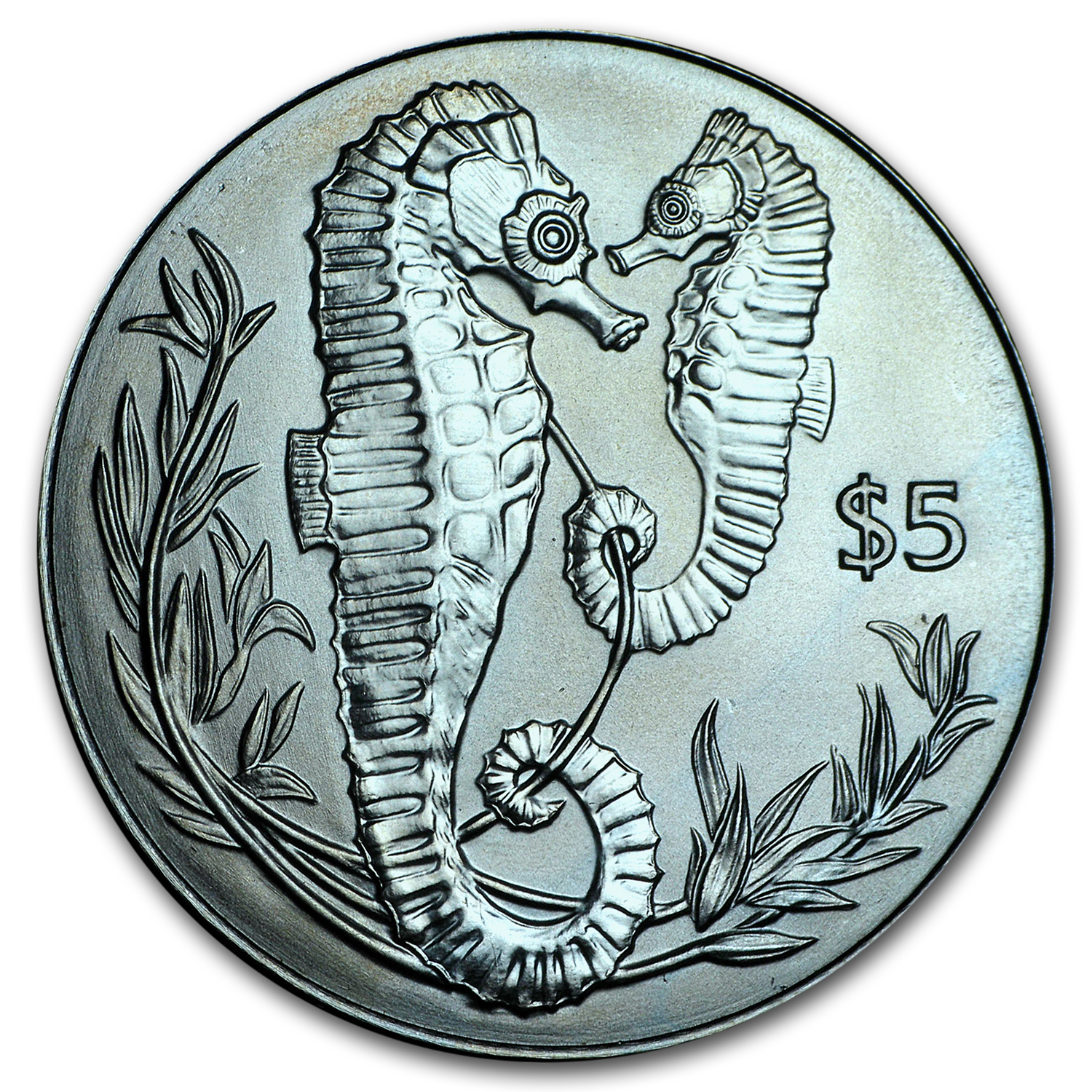 2017 British Virgin Islands Turquoise Titanium $5 Seahorse Proof