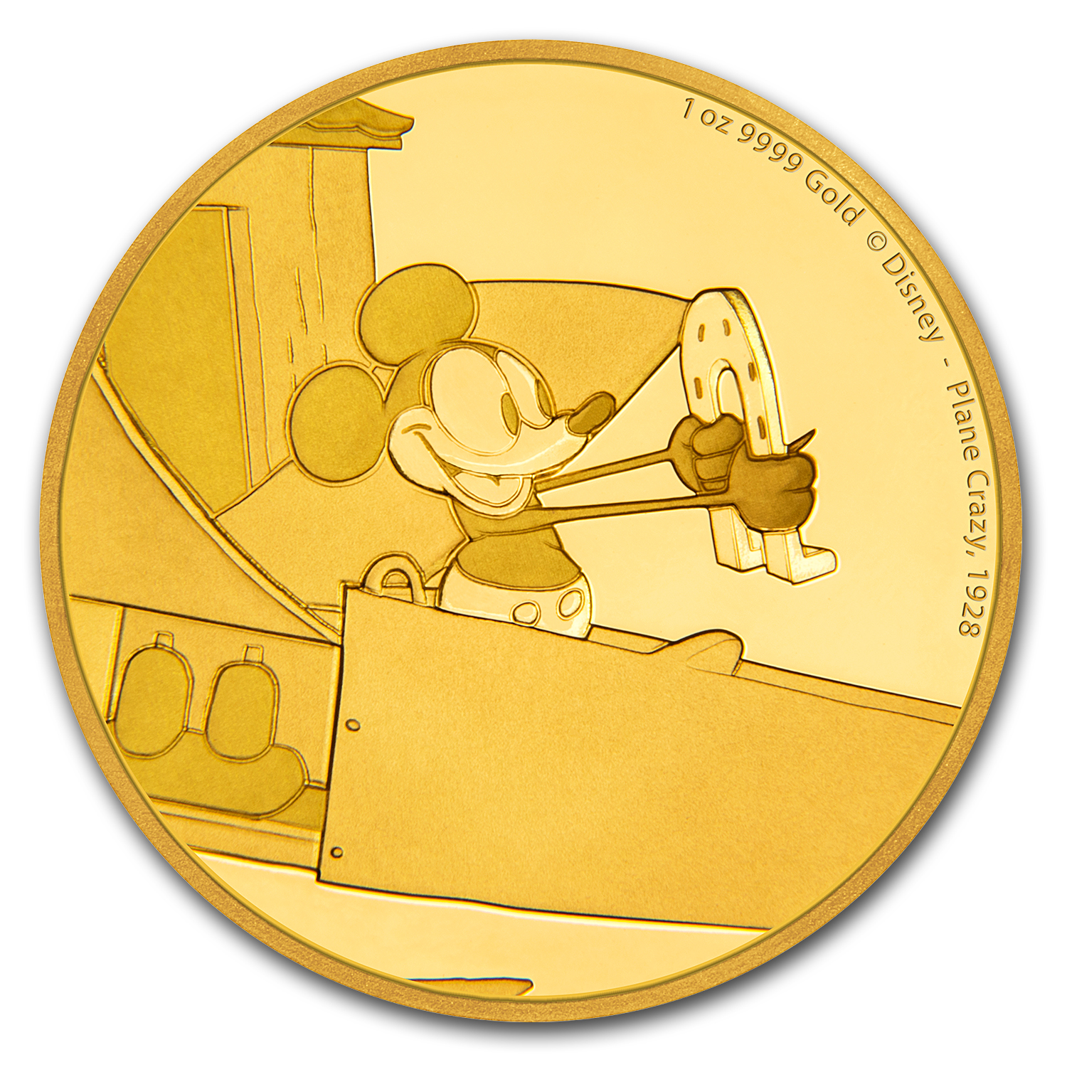 2016 1 oz Gold $250 Mickey Through the Ages: Plane Crazy