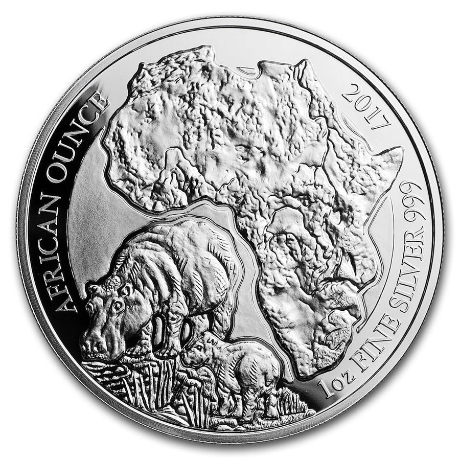 2017 Rwanda 1 Oz Silver African Hippo Proof Rwanda