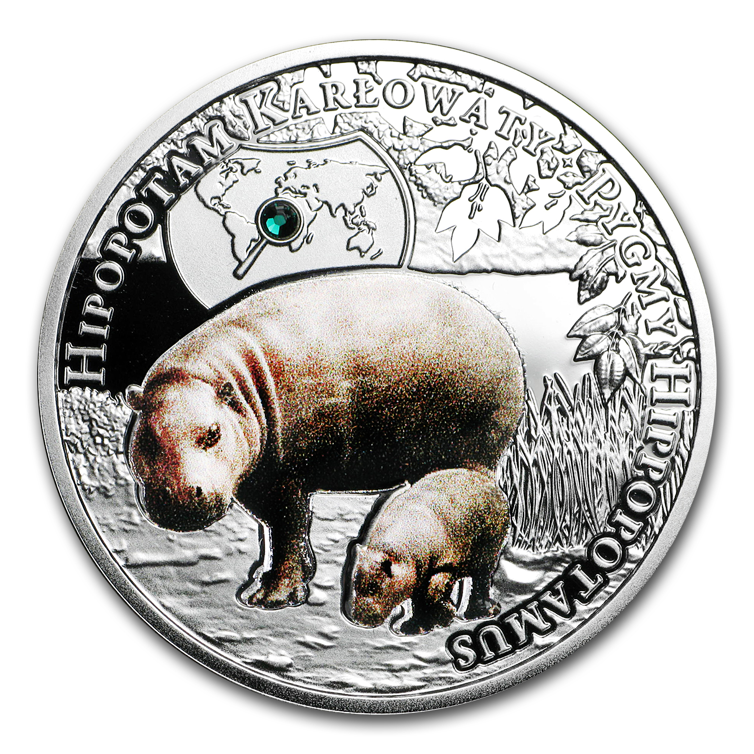 2016 Niue Silver Endangered Animal Species Pygmy Hippopotamus
