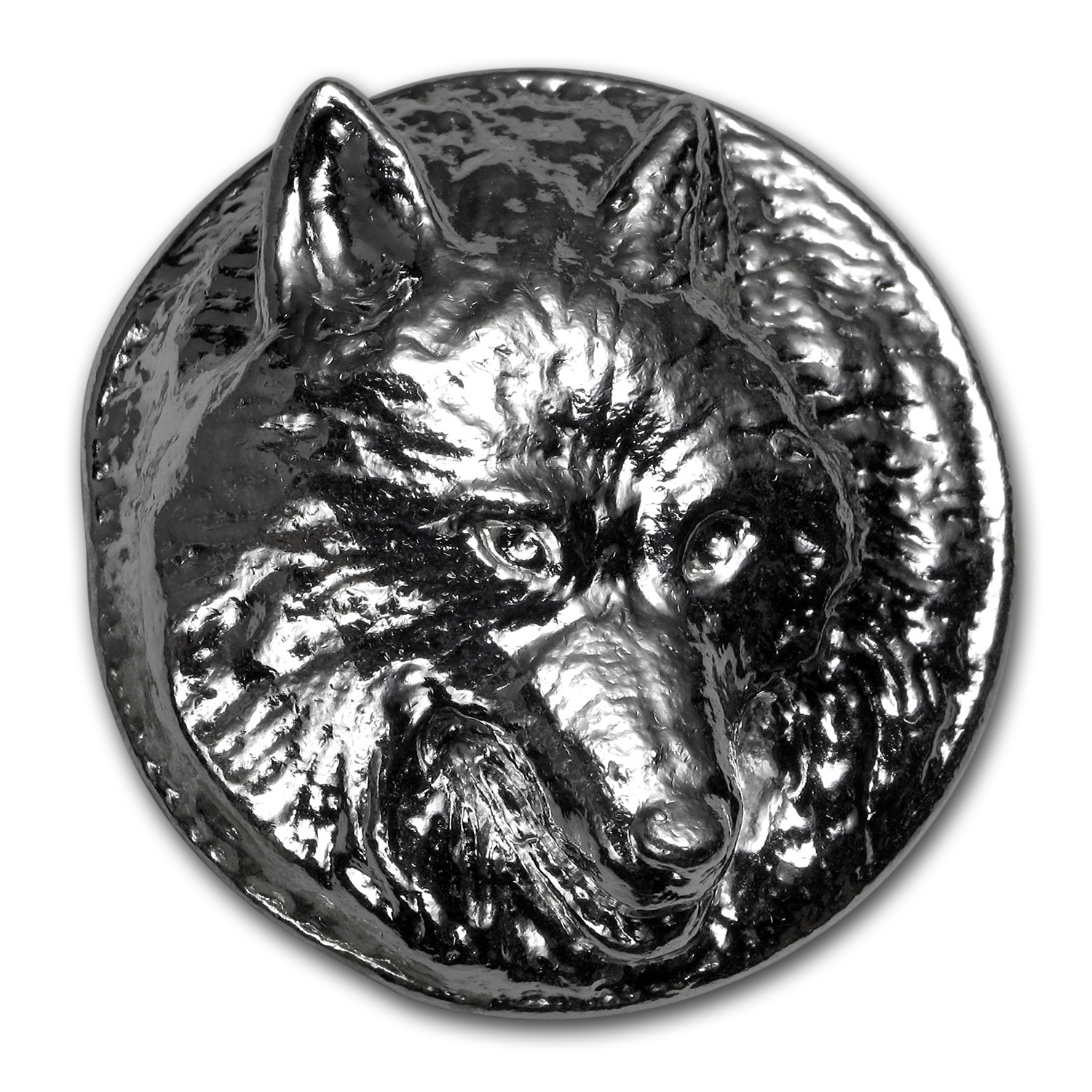 5 oz Silver Round - Yeager Poured Silver (Wolf, UHR)