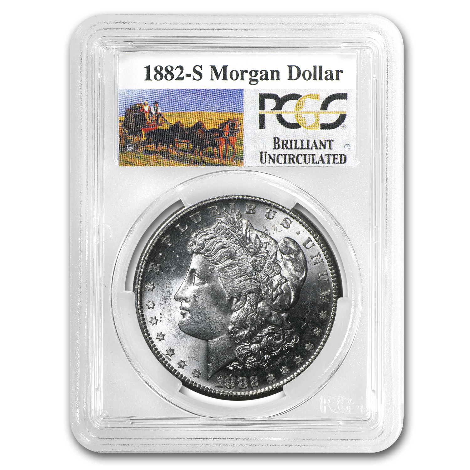 1882-S Brilliant Uncirculated PCGS Stage Coach Silver Dollar