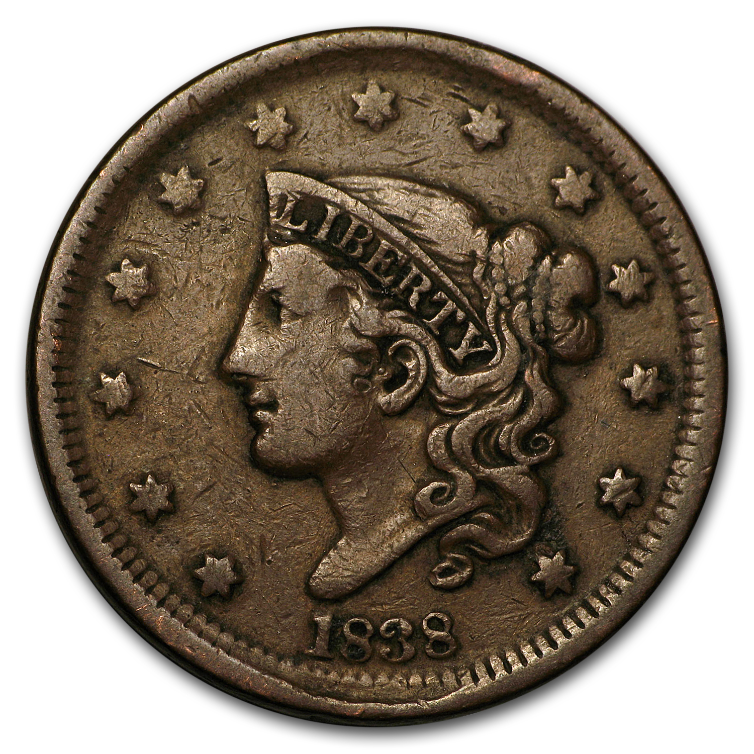 1838 Large Cent VF