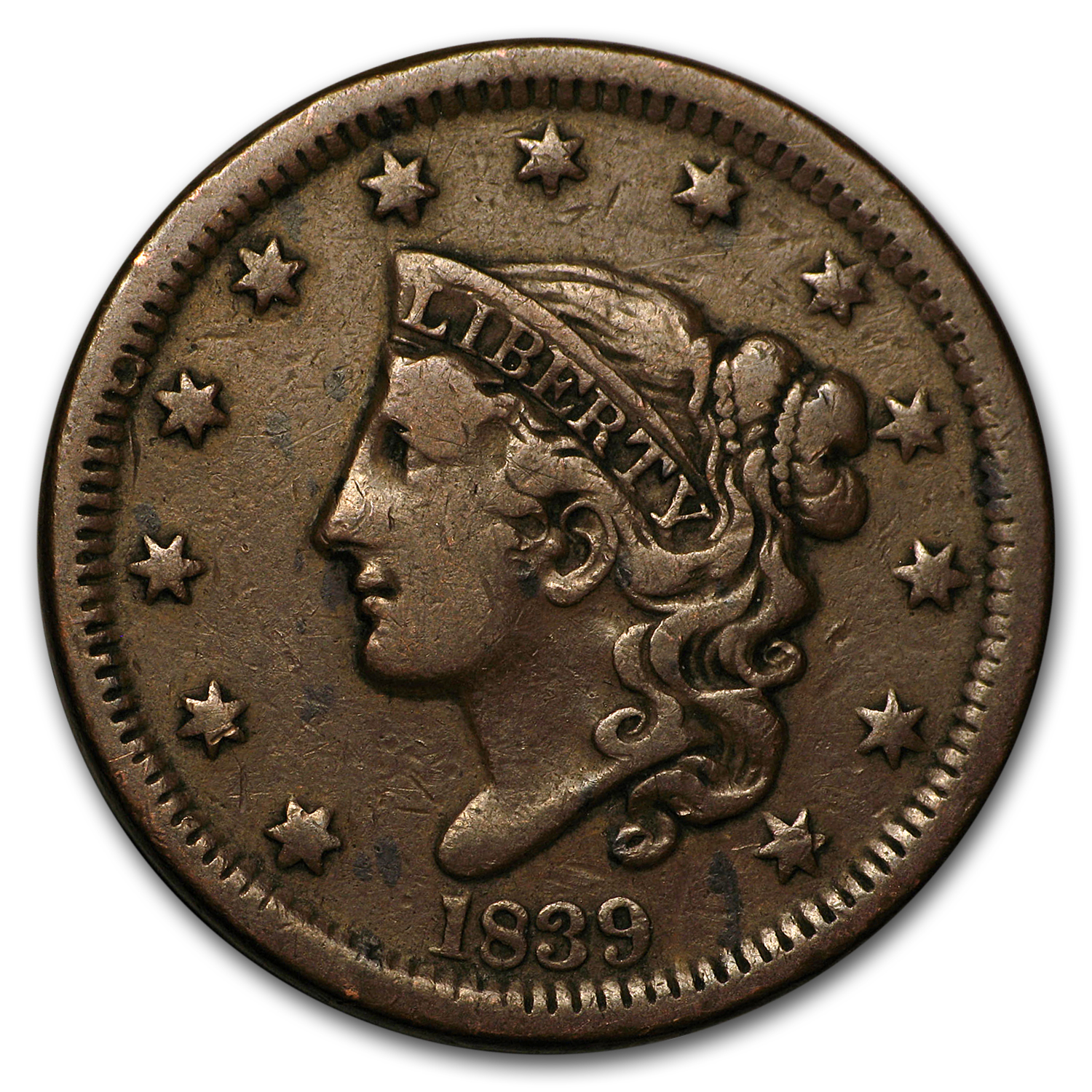 1839 Head of 1838 Large Cent VF