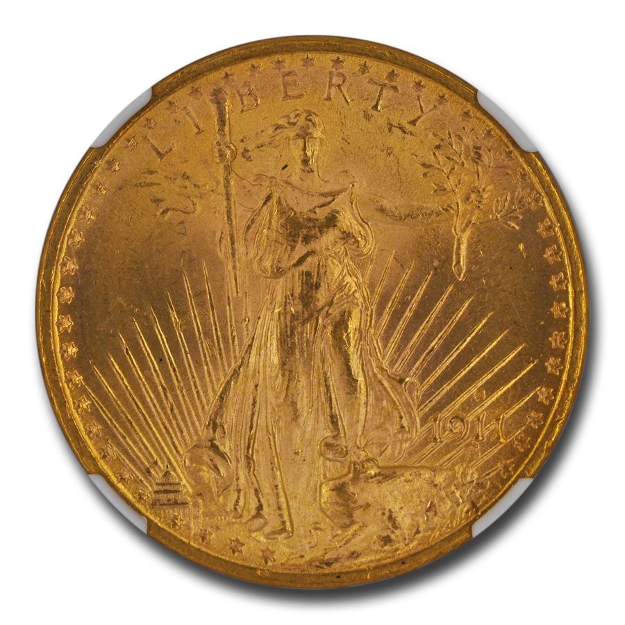 1911-S $20 St. Gaudens Gold Double Eagle MS-65 NGC