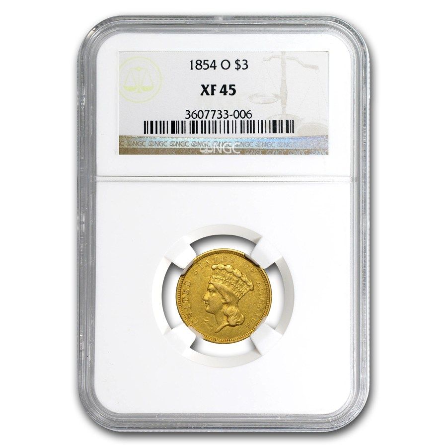 1854-O $3 Gold Princess XF-45 NGC