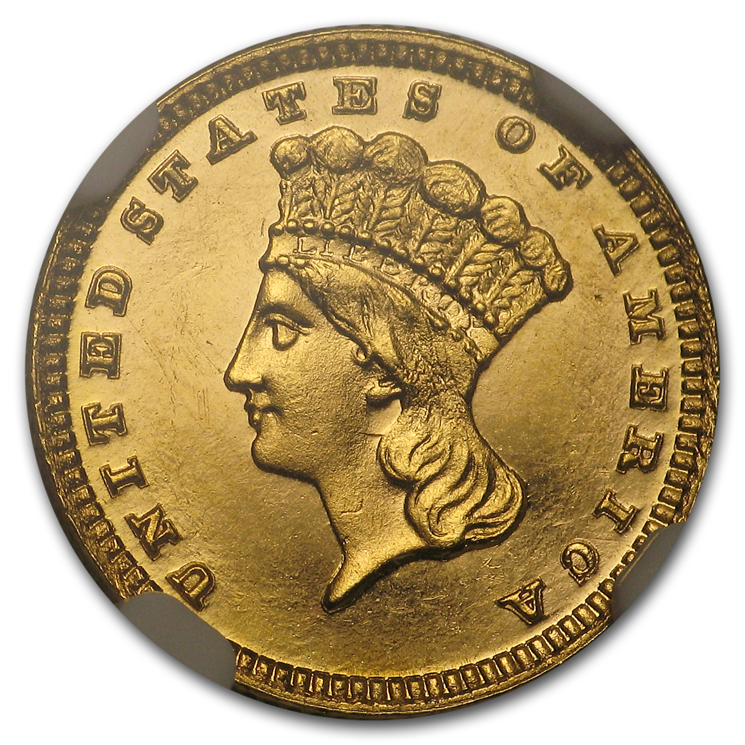 1884 $1 Indian Head Gold MS-64 PL NGC