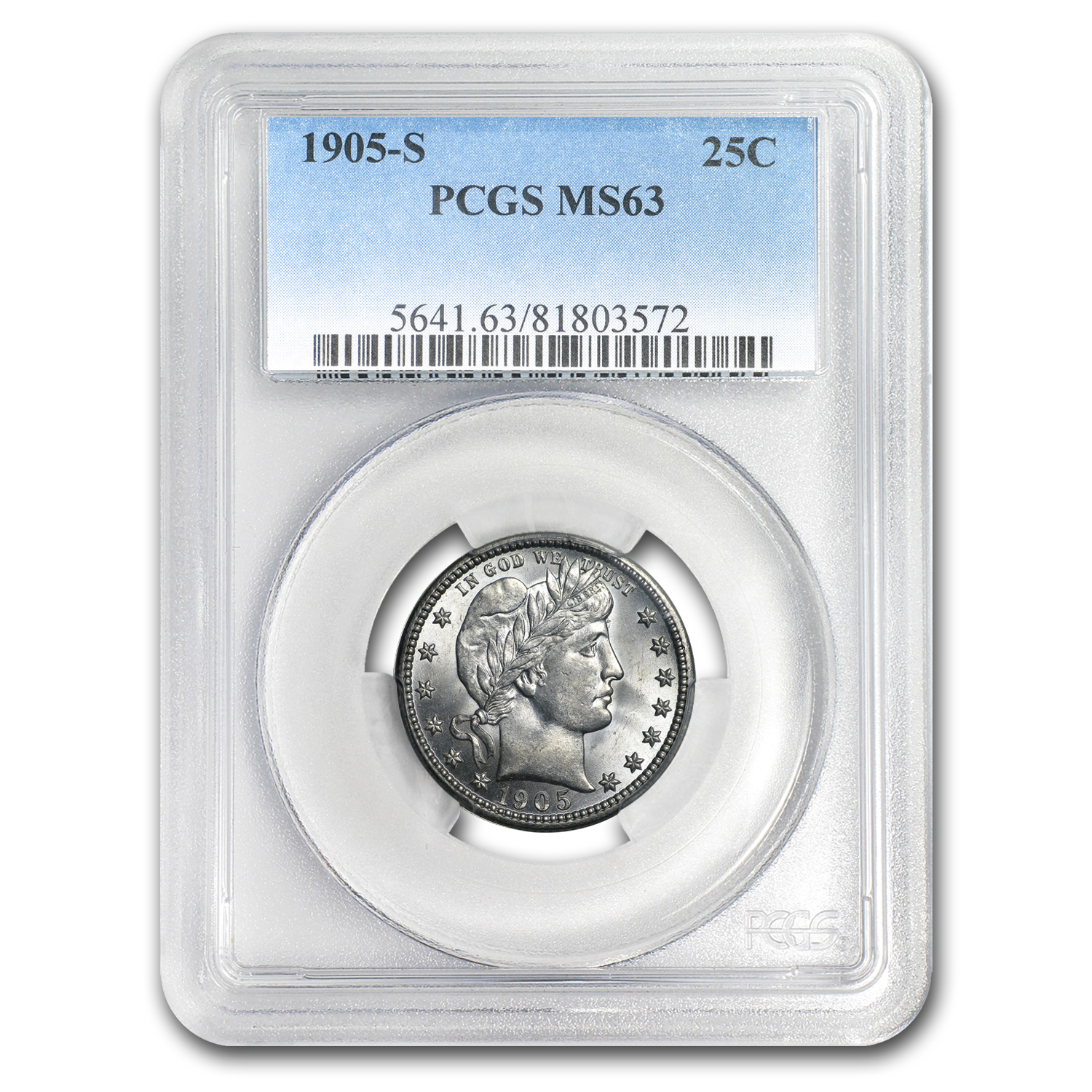 1905-S Barber Quarter MS-63 PCGS