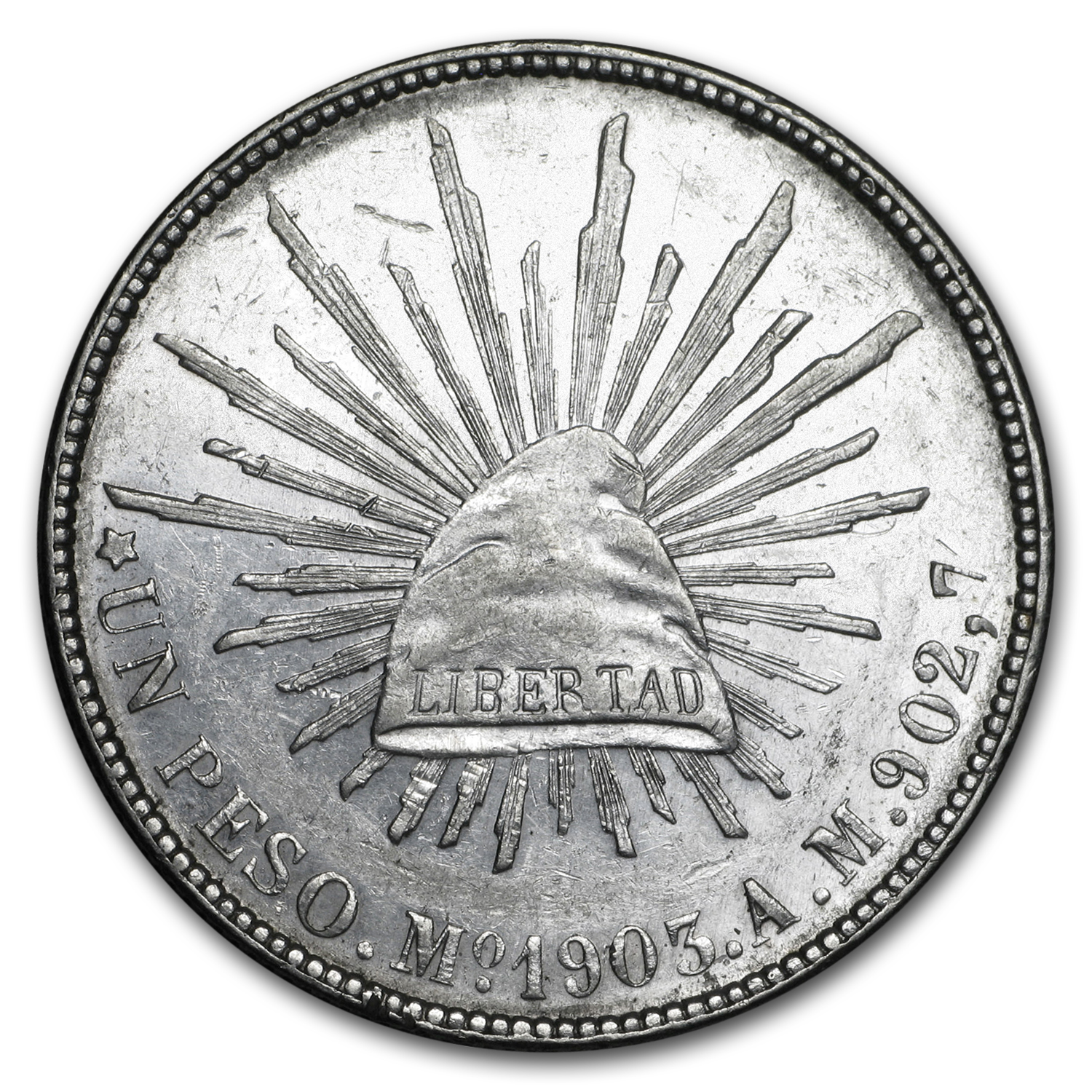 1898-1909 Silver Mexican Peso Cap & Rays AU Details