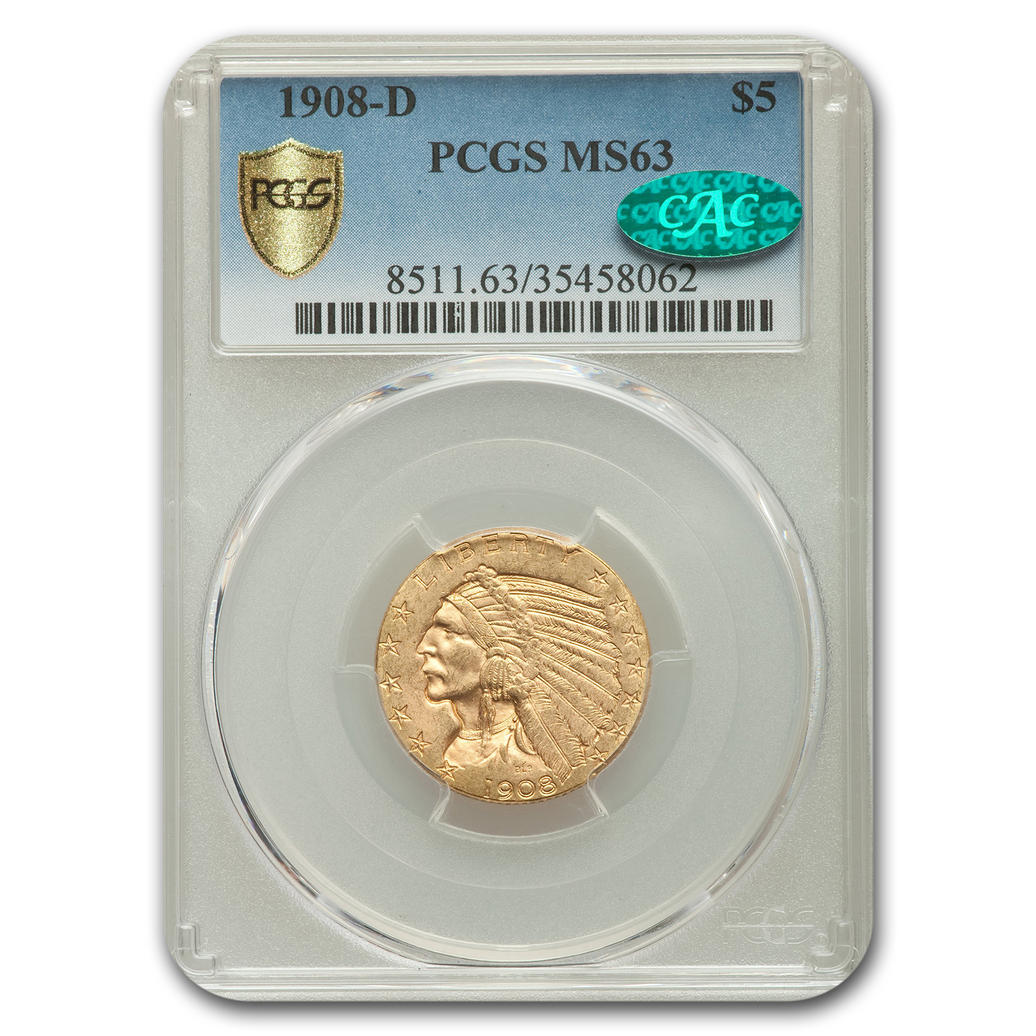 1908-D $5 Indian Gold Half Eagle MS-63 PCGS (CAC)
