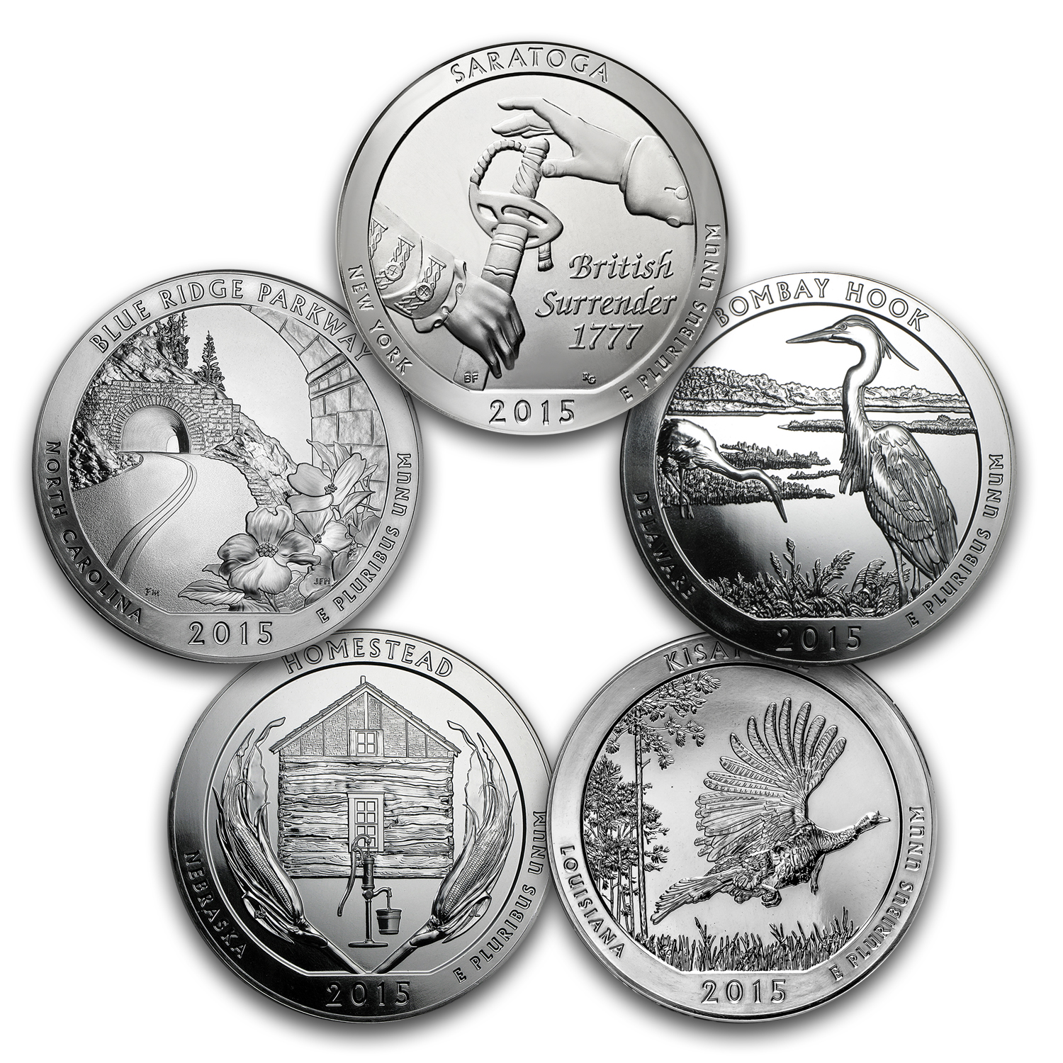 2010-2016 35-Coin 5 oz Silver America The Beautiful Set