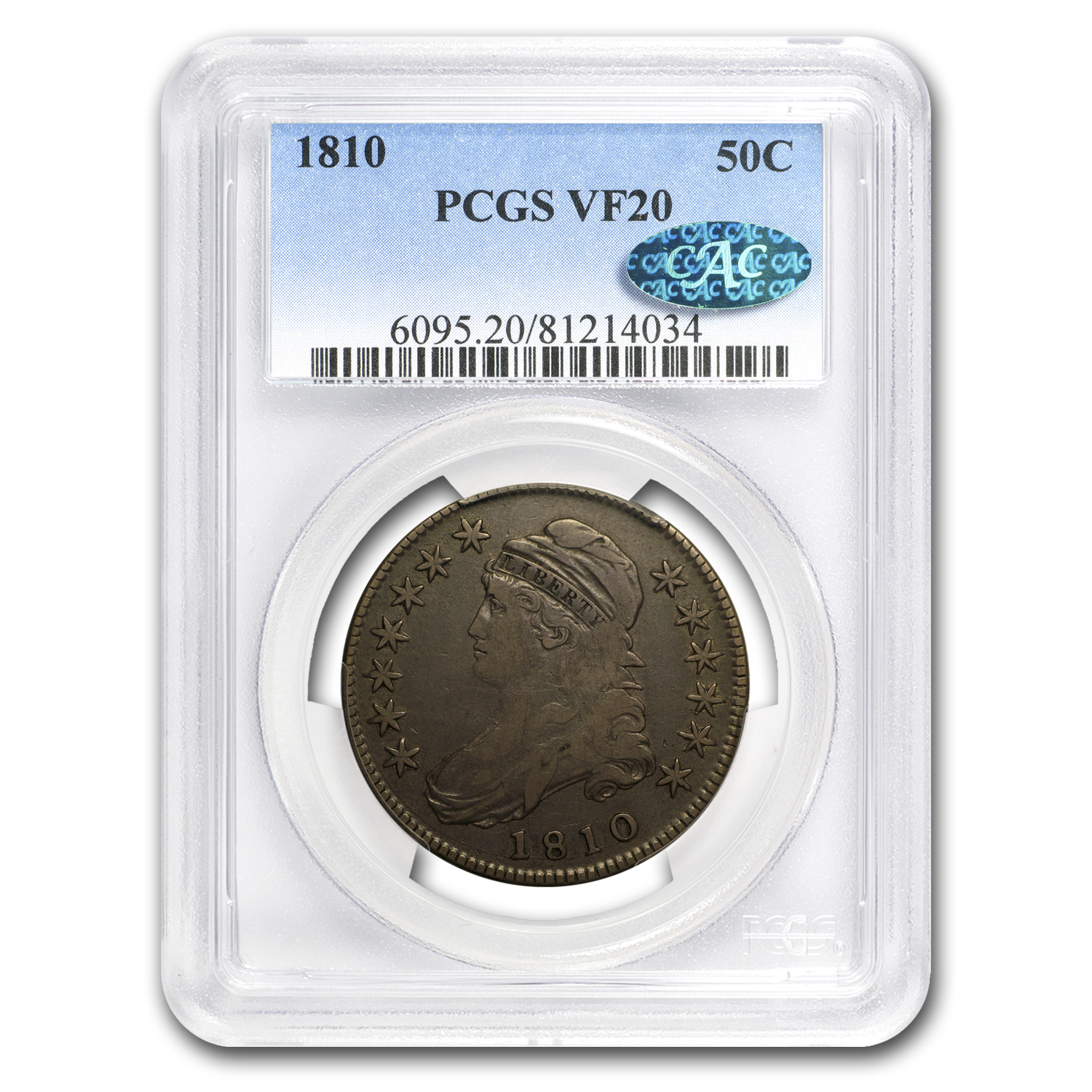 1810 Capped Bust Half Dollar VF-20 PCGS CAC