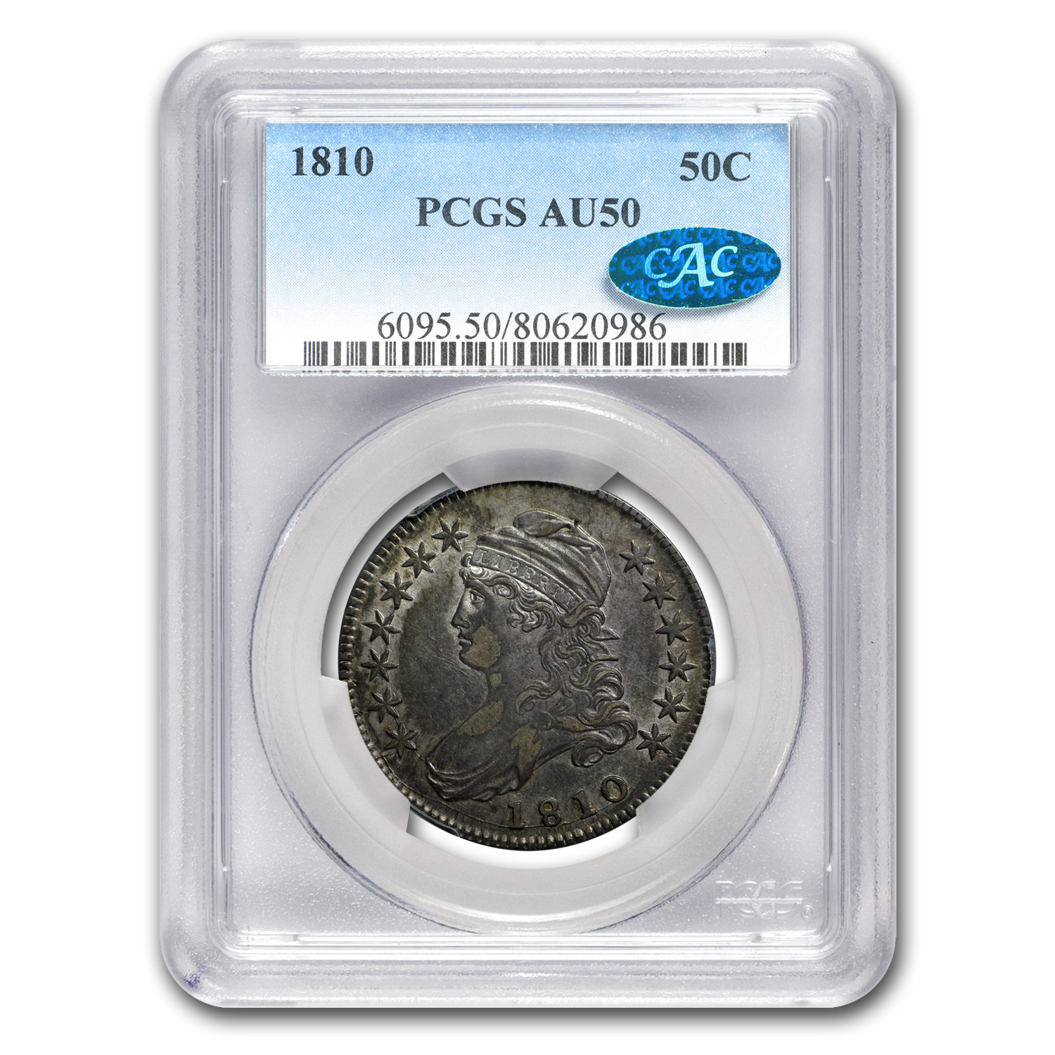 1810 Capped Bust Half Dollar AU-50 PCGS CAC